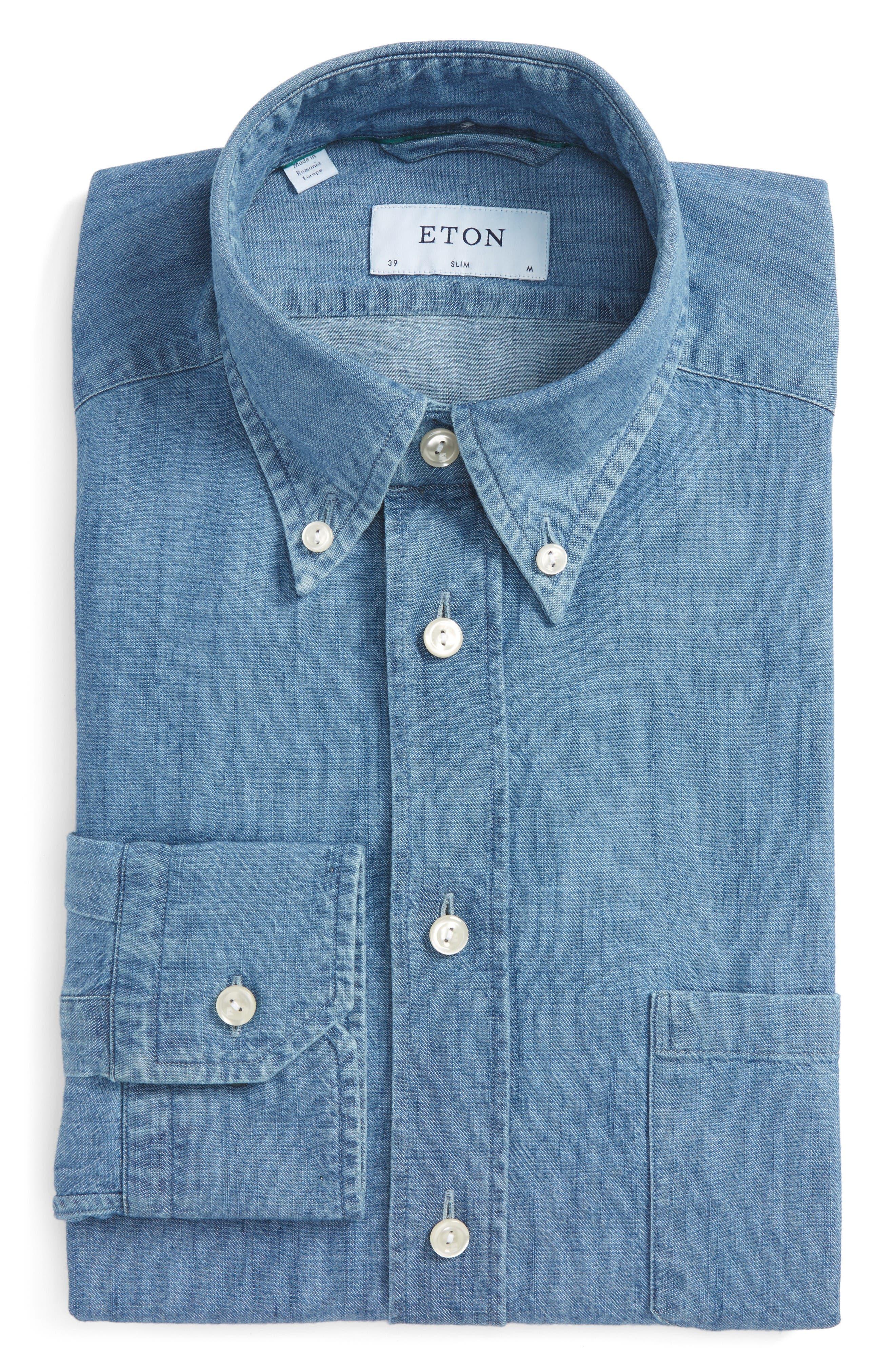 Slim Fit Chambray Dress Shirt,                         Main,                         color, Blue