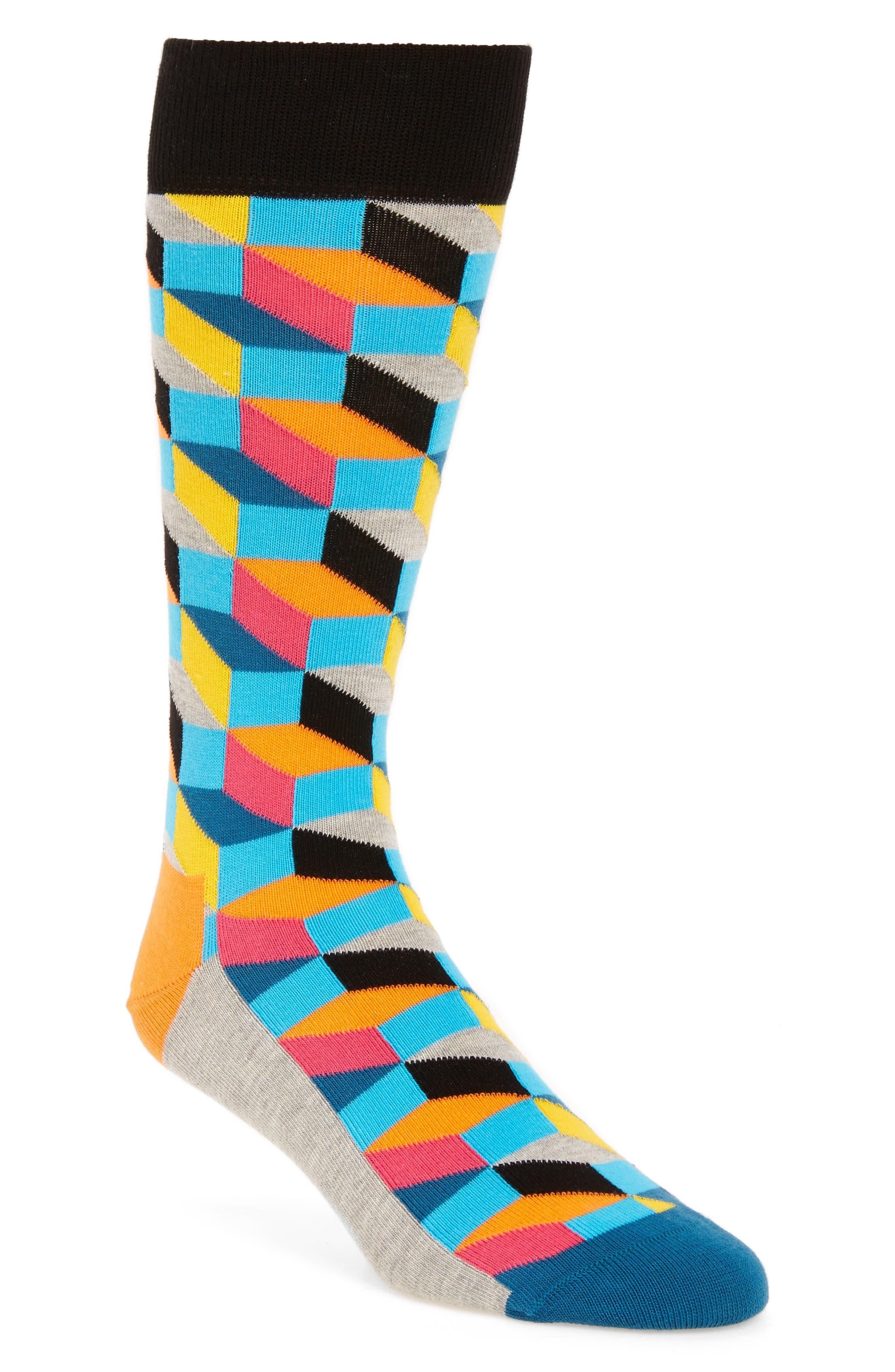 Geometric Cotton Blend Socks,                         Main,                         color, Blue/ Yellow