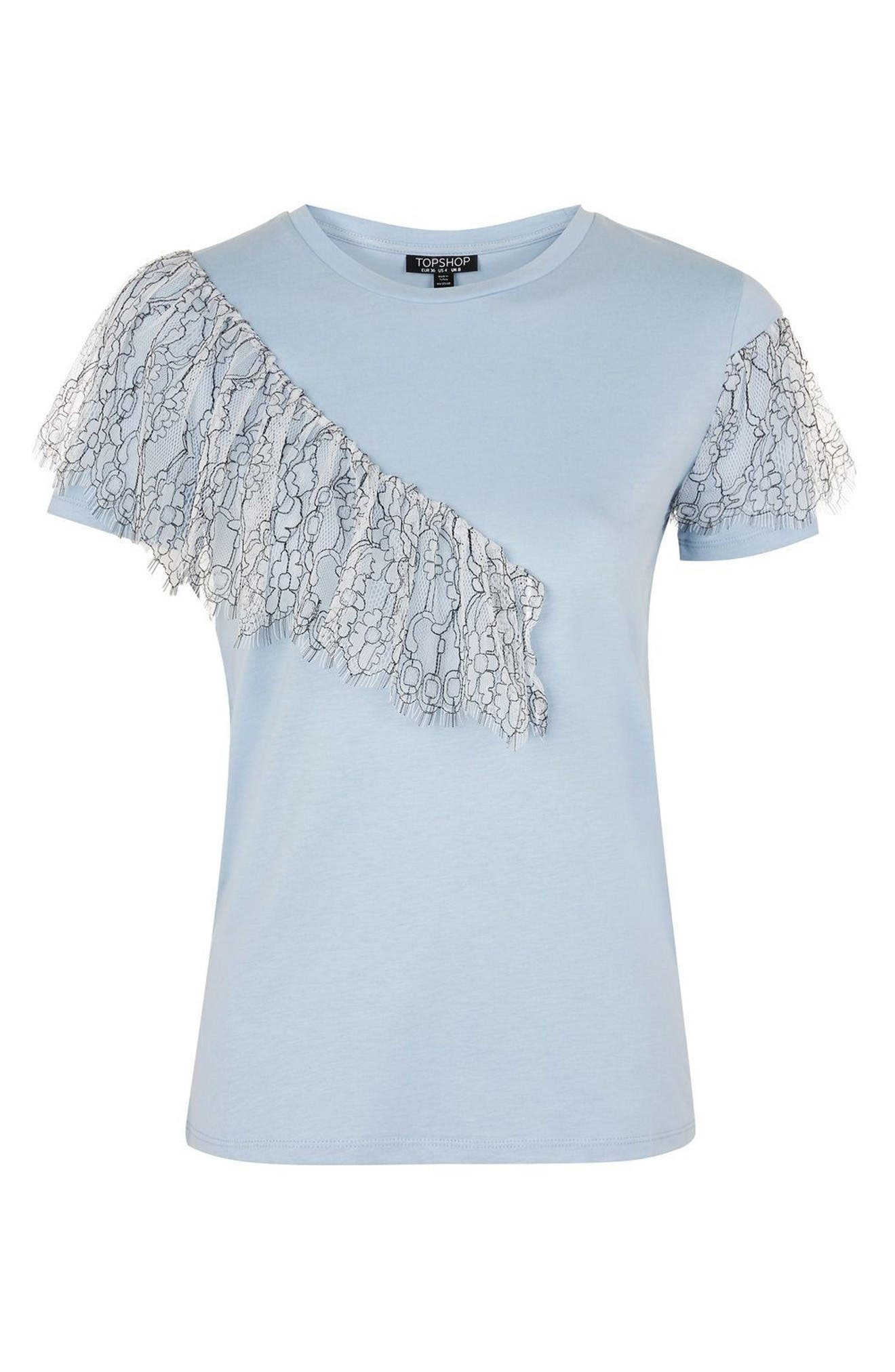 Alternate Image 4  - Topshop Lace Ruffle Tee