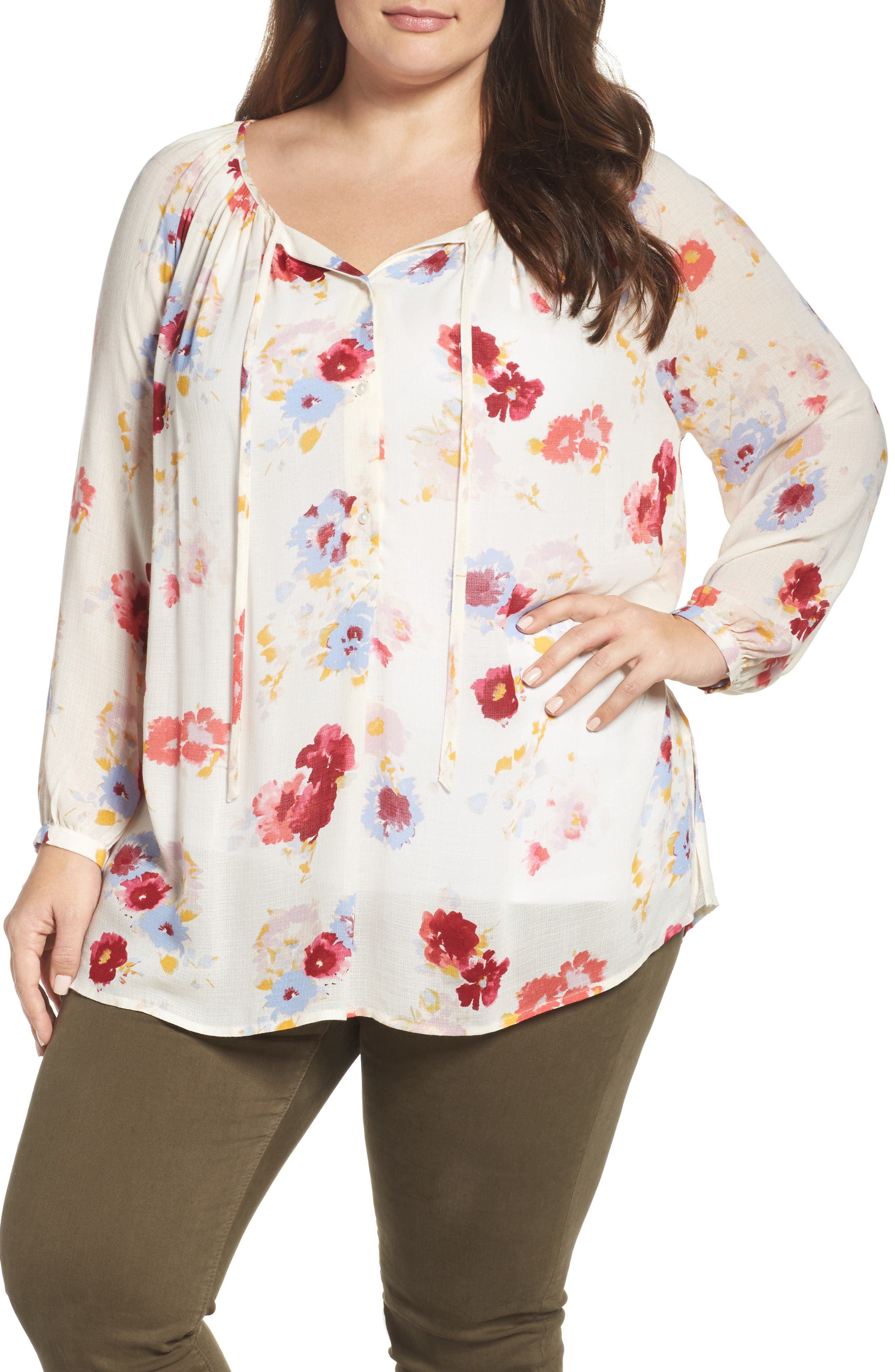 Lucky Brand Floral Print Peasant Blouse (Plus Size ...