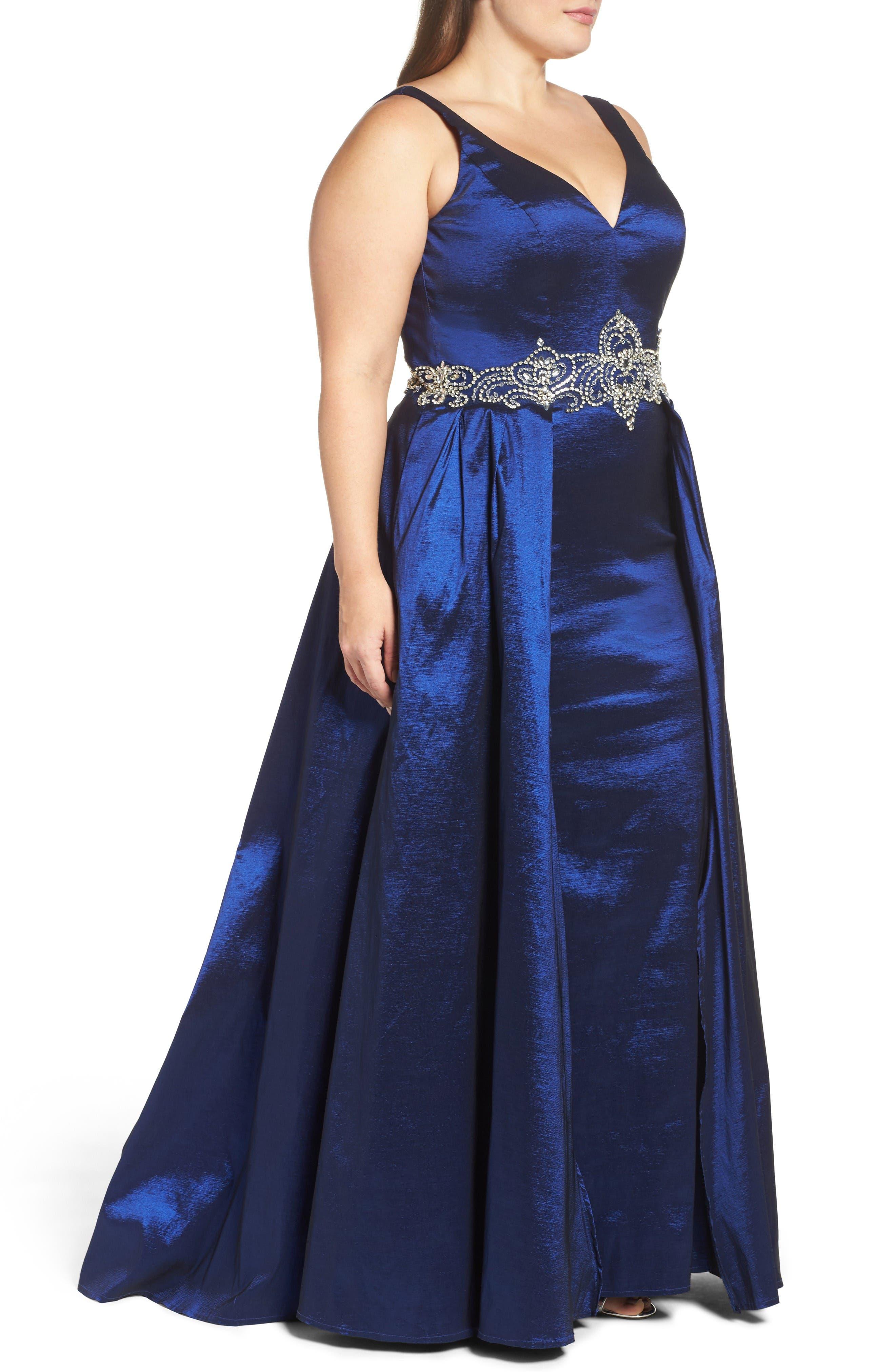 Embellished Waist Taffeta Ballgown,                             Alternate thumbnail 3, color,                             Sapphire