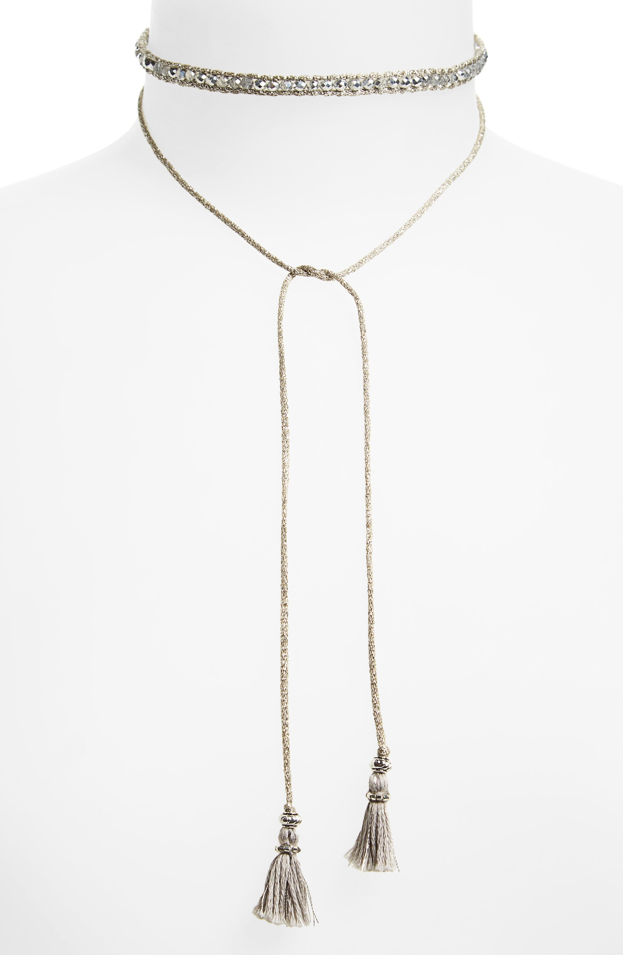 Sunflower Crystal Lariat Necklace,                         Main,                         color, Silver