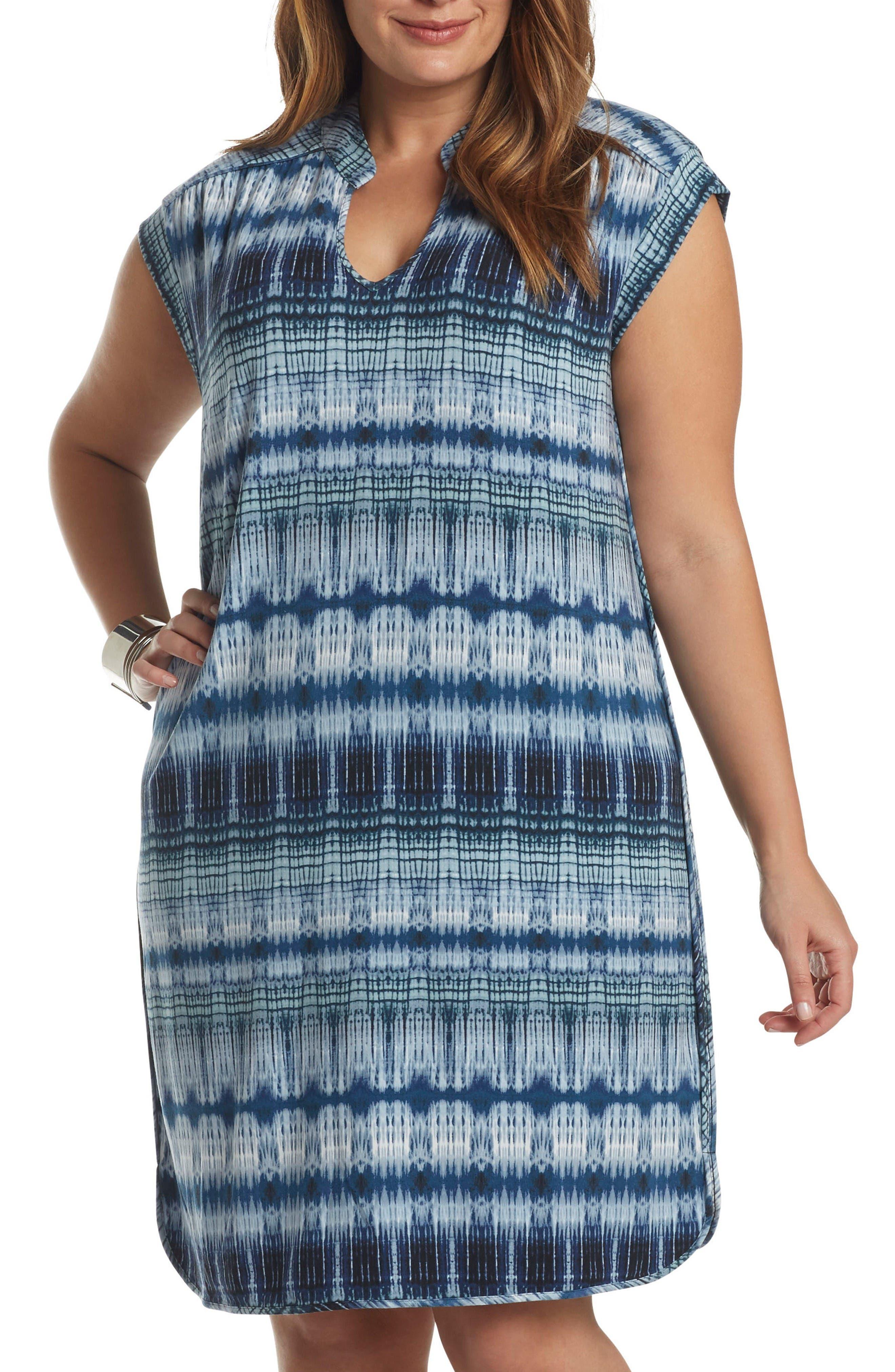 'Mellie' Split Neck Jersey Dress,                         Main,                         color, Tiered Tie Dye