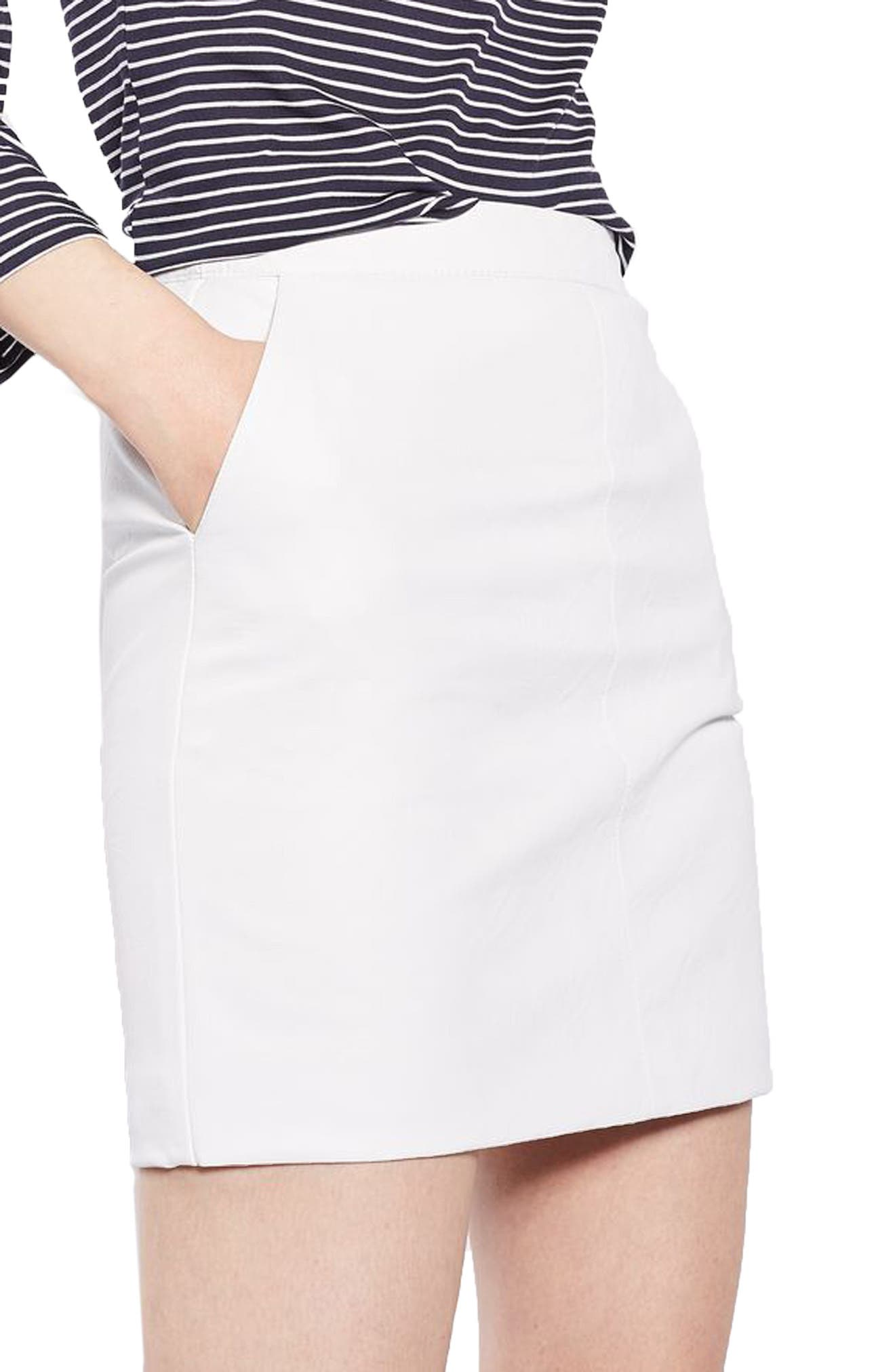 Faux Leather Pencil Skirt,                             Alternate thumbnail 4, color,                             White