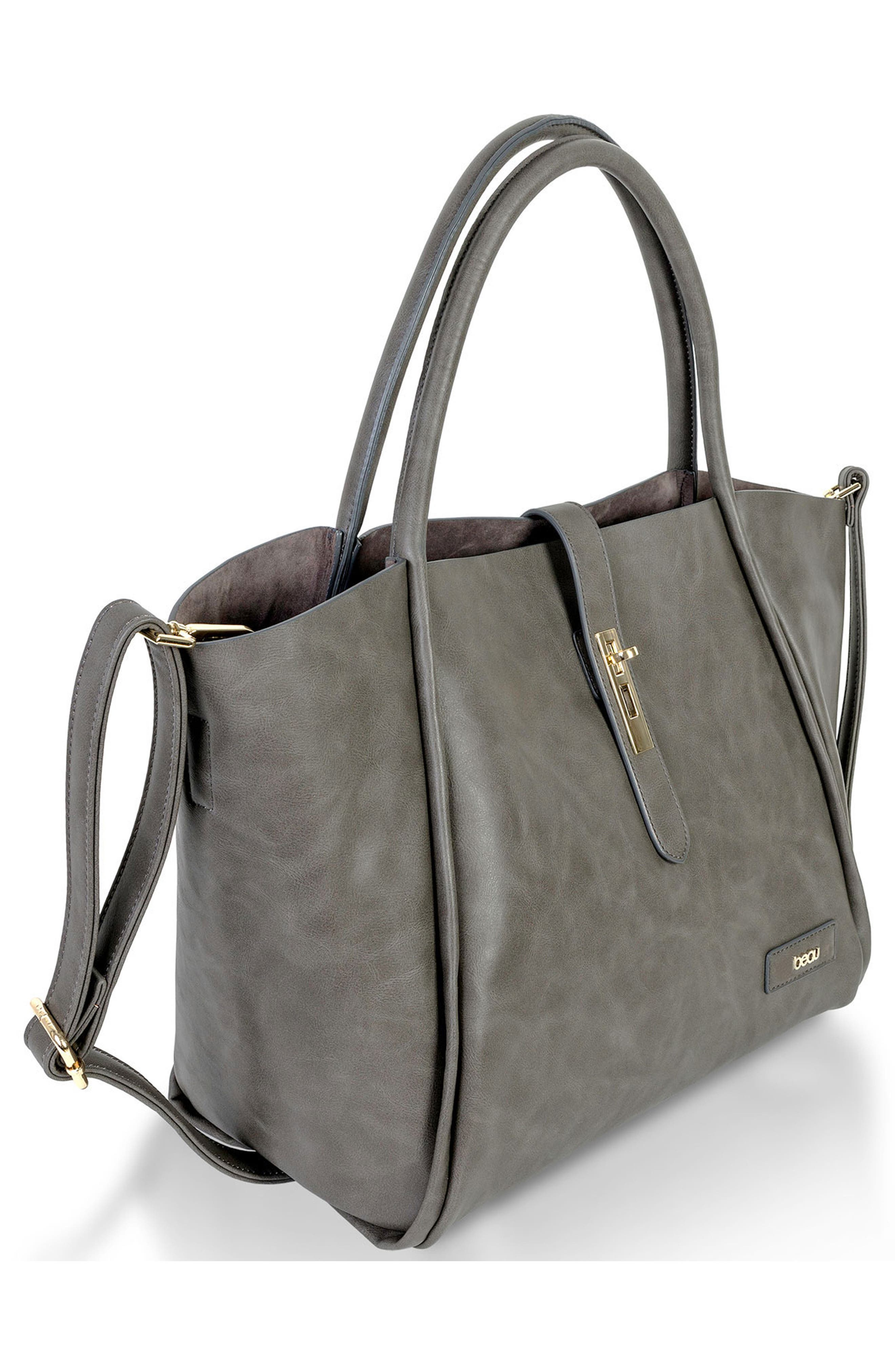 Caris Faux Leather Diaper Tote,                             Alternate thumbnail 4, color,                             Grey