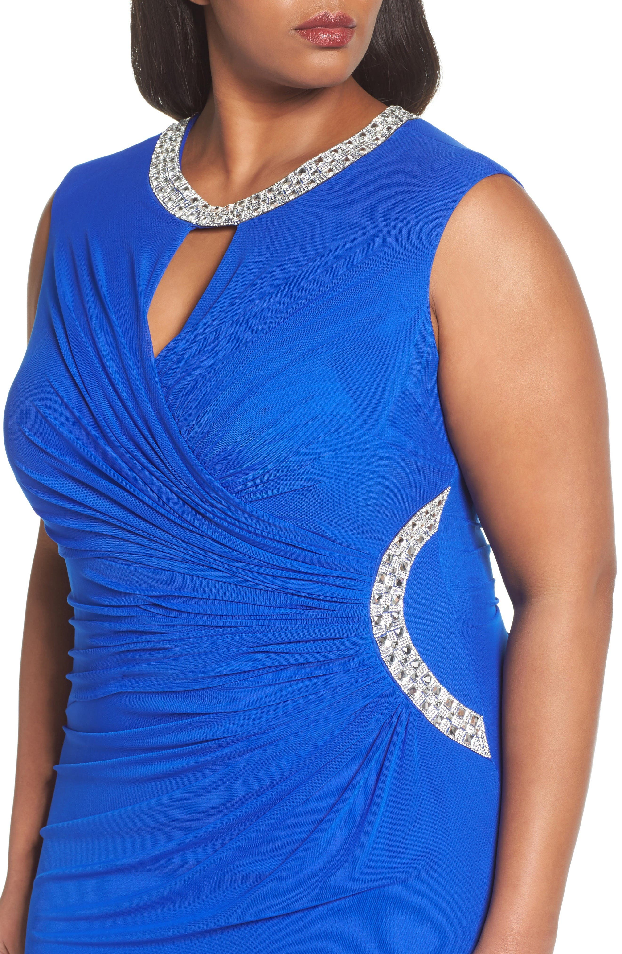 Embellished Faux Wrap Gown,                             Alternate thumbnail 4, color,                             Royal
