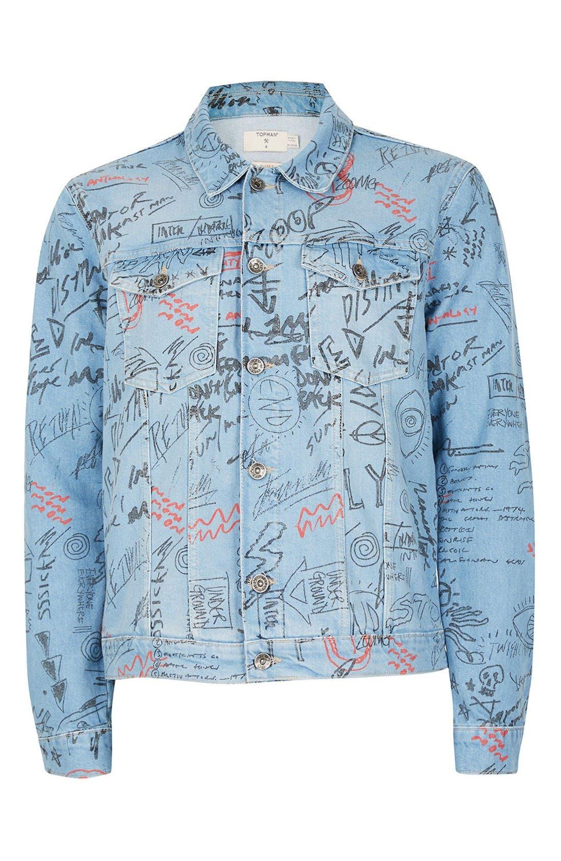 Alternate Image 5  - Topman Doodle Denim Jacket