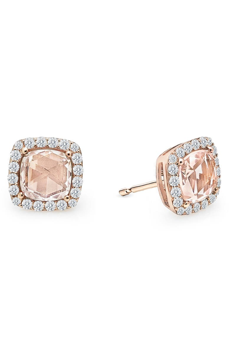 morganite gold stud cushion cut mullen earrings rings jewelers and products rose halo diamond