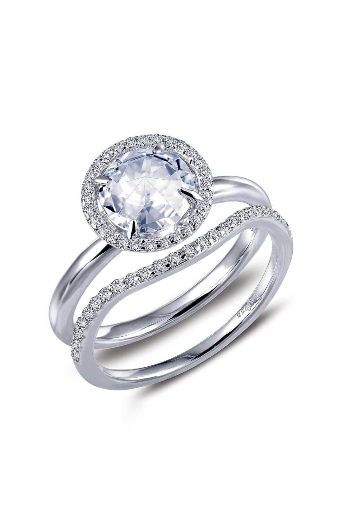 Rose Cut Simulated Diamond Ring & Band,                             Main thumbnail 1, color,                             Silver