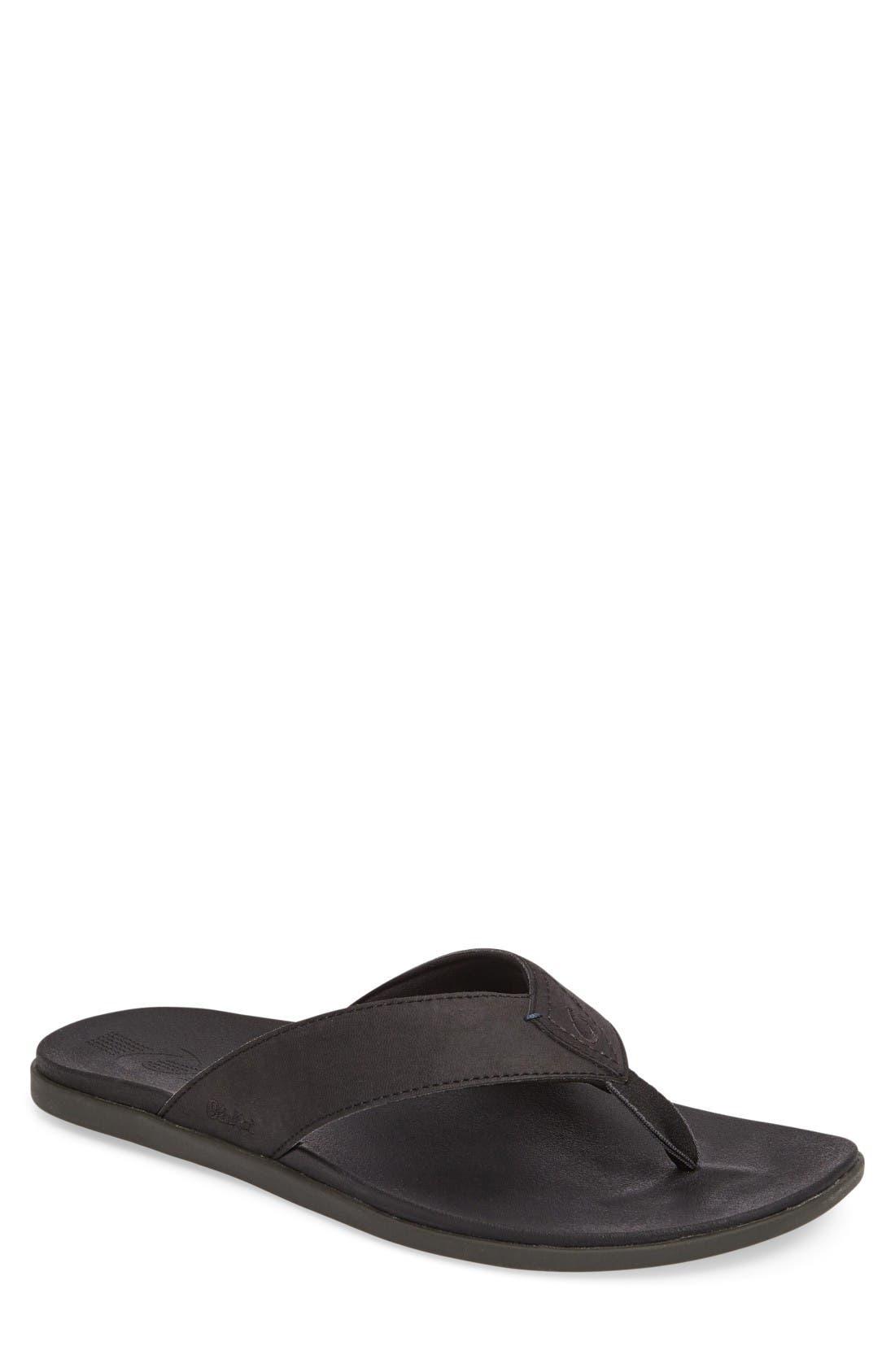 'Holona' Flip Flop,                         Main,                         color, Onyx/ Onyx