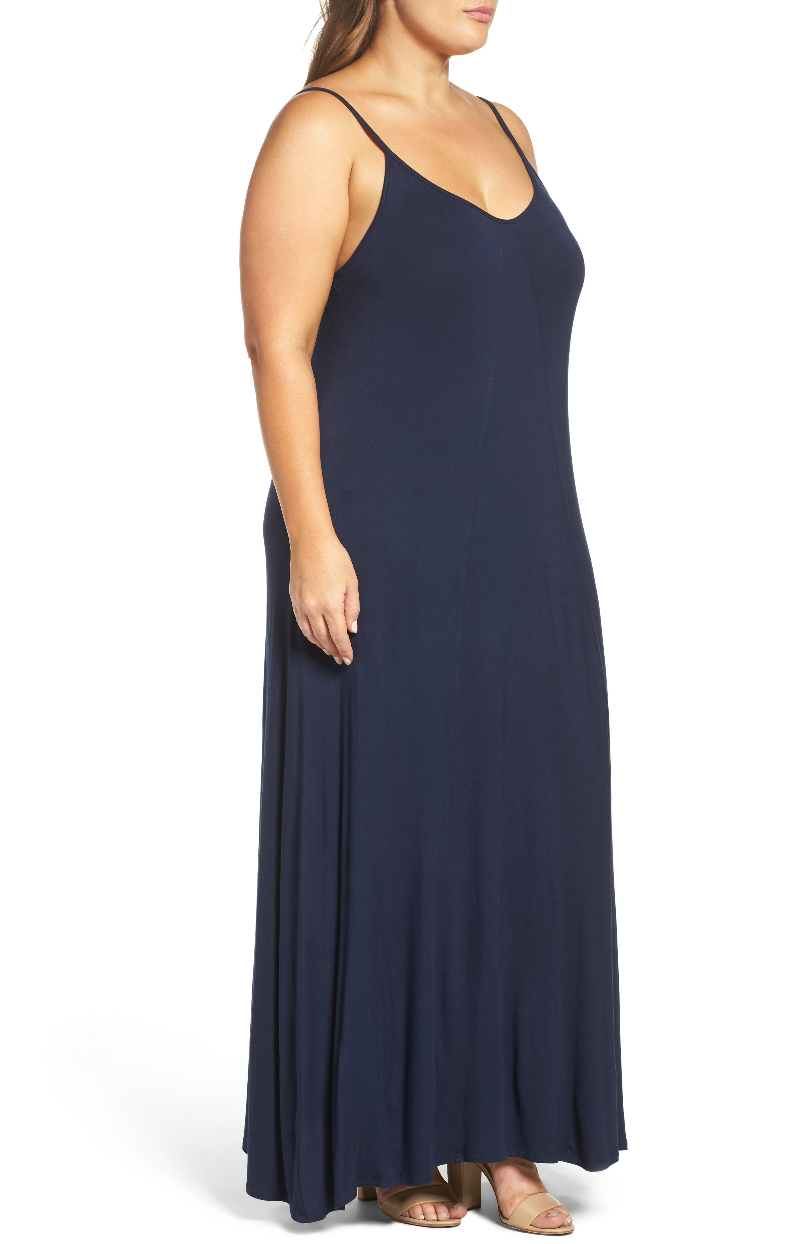 A-Line Maxi Dress,                             Alternate thumbnail 4, color,                             Midnight