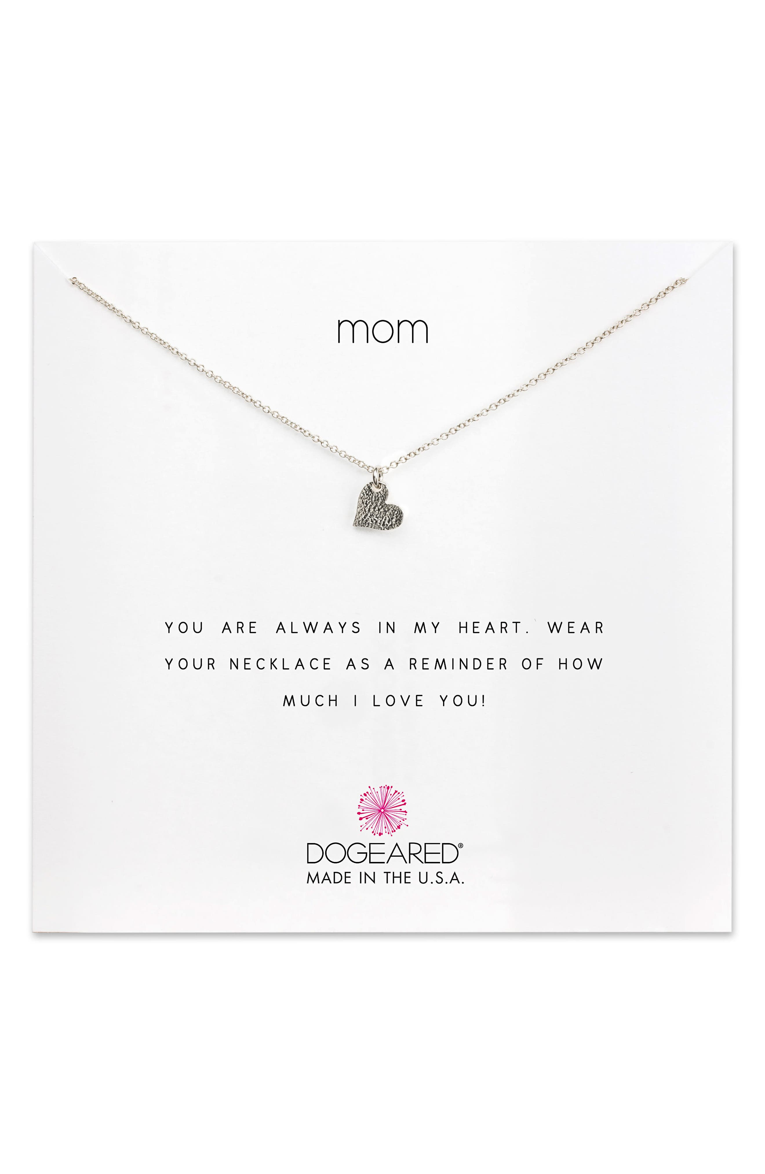 Mom Pendant Necklace,                             Main thumbnail 1, color,                             Silver