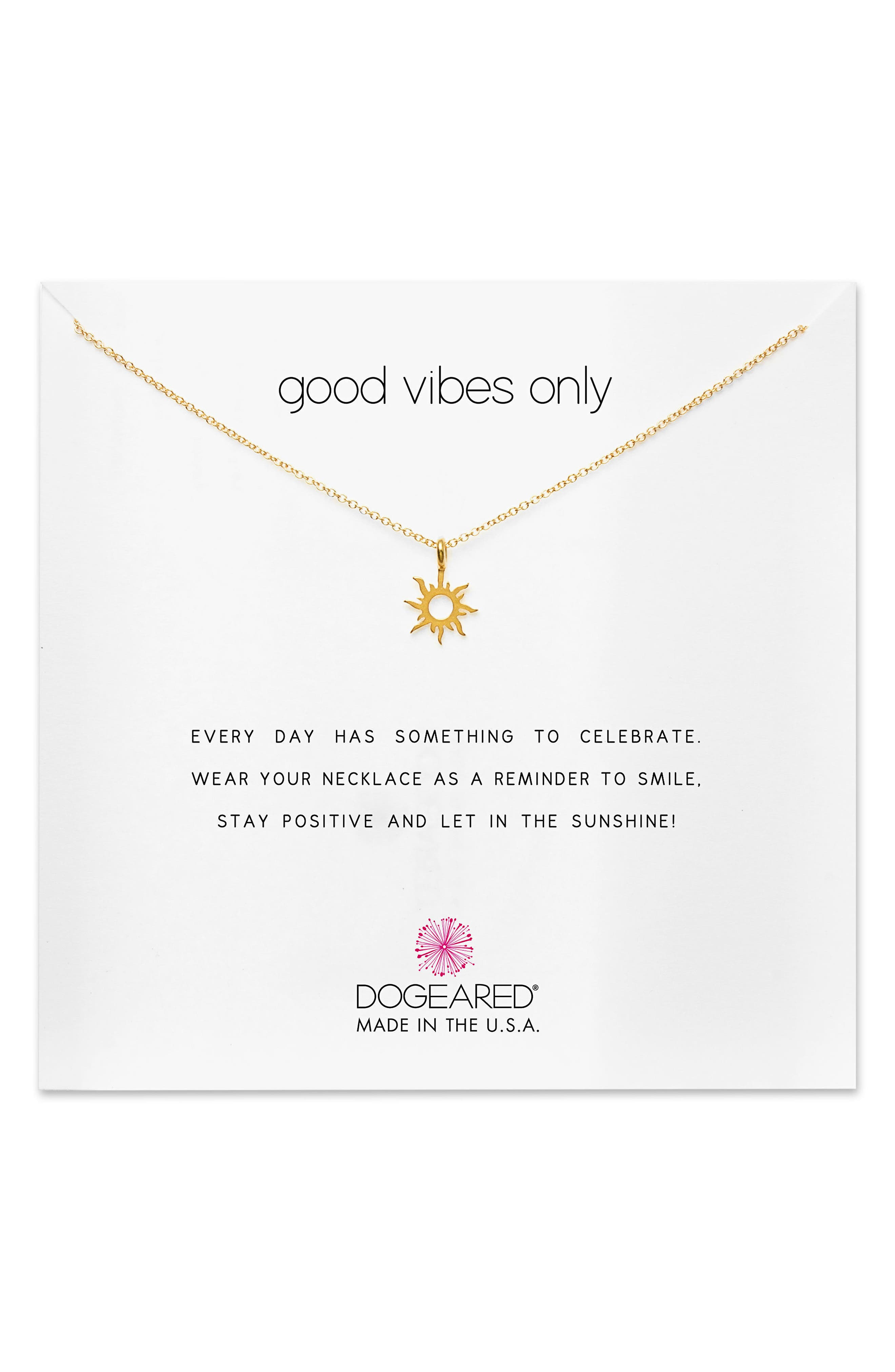 Main Image - Dogeared Good Vibes Only Pendant Necklace