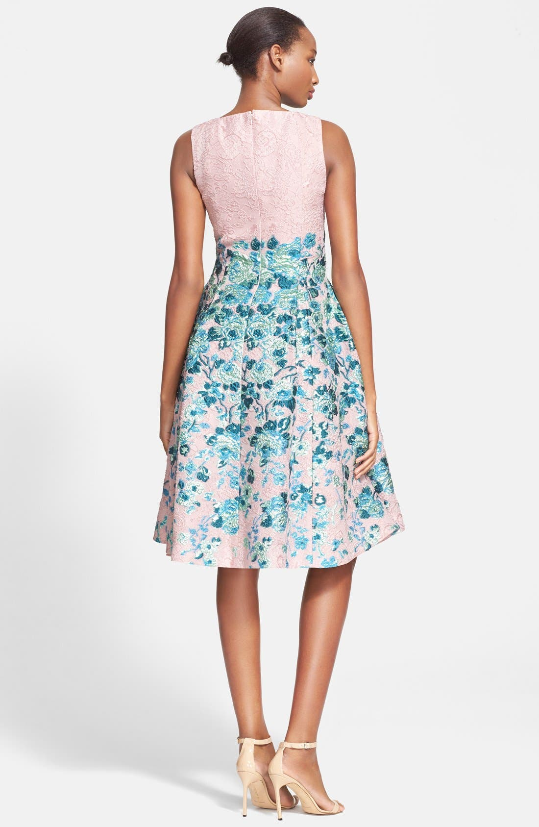 Alternate Image 2  - Lela Rose Flower Jacquard A-Line Dress