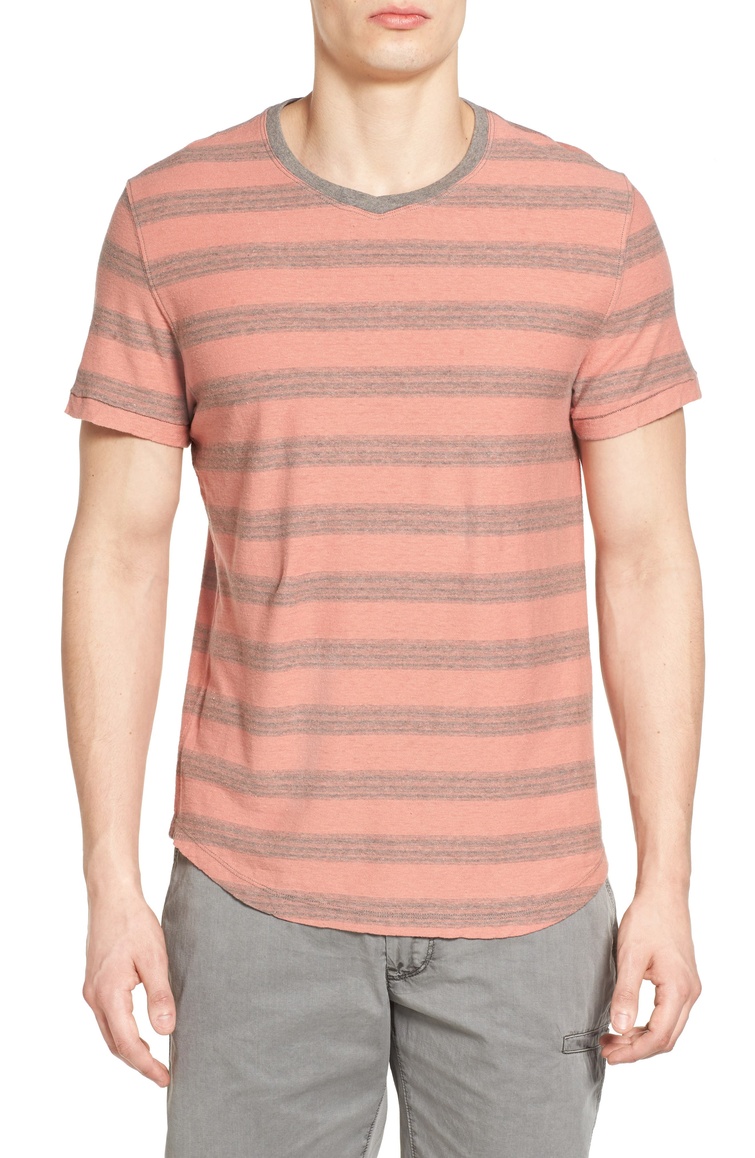 Jeremiah Ventura Stripe Linen & Cotton T-Shirt
