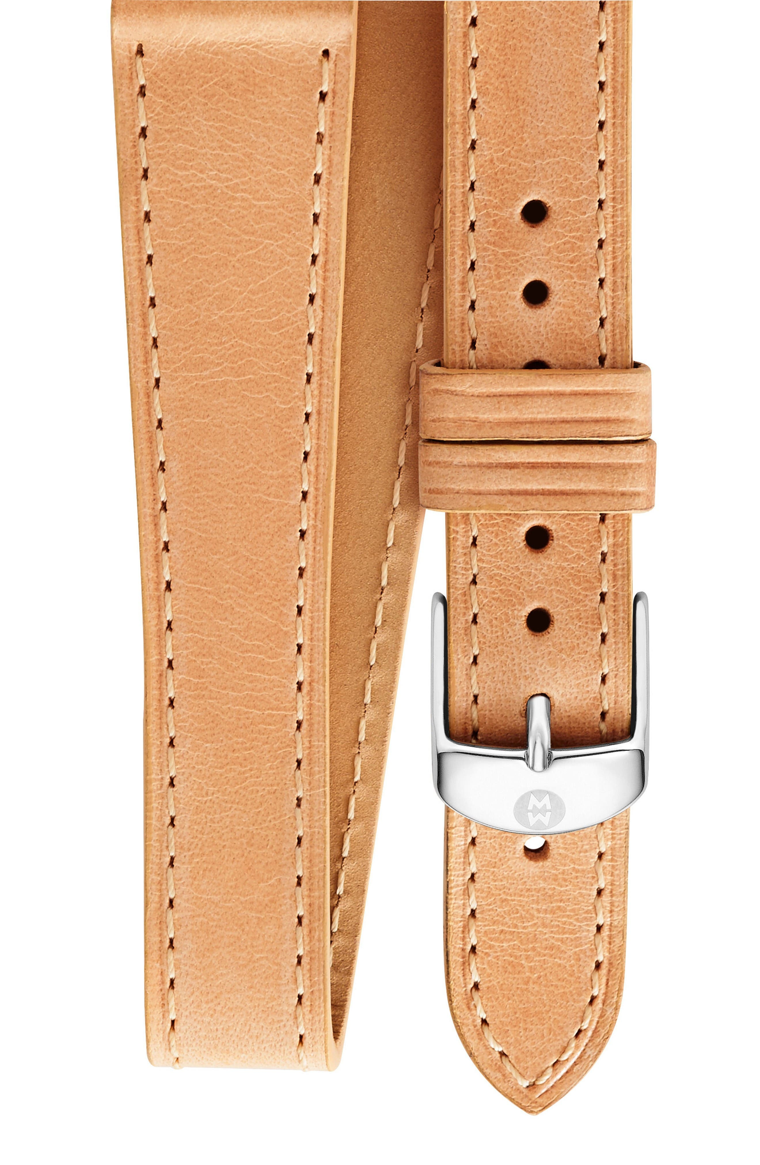 Main Image - MICHELE 16mm Leather Wrap Watch Strap