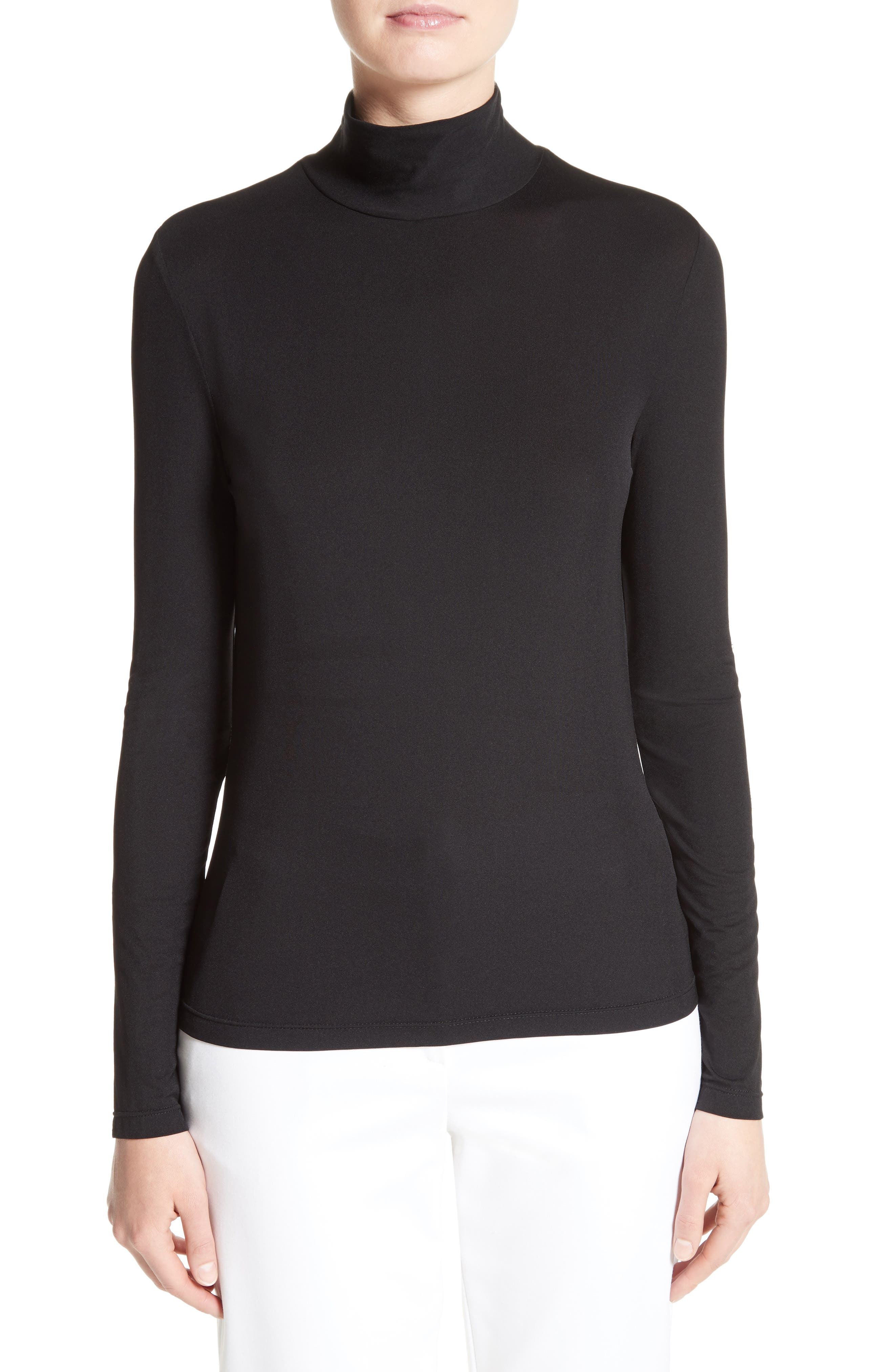 St. John Collection 'Nuda' Fine Jersey Turtleneck Shell