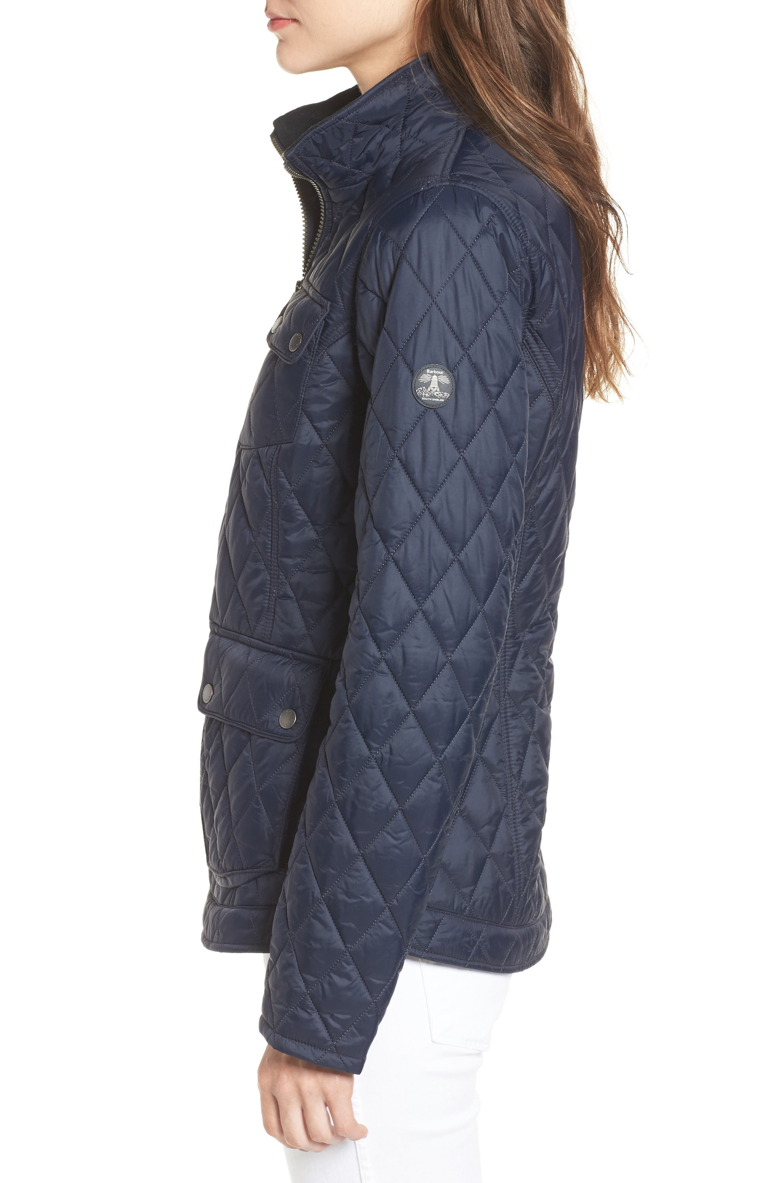 Dolostone Quilted Jacket,                             Alternate thumbnail 3, color,                             Dark Navy