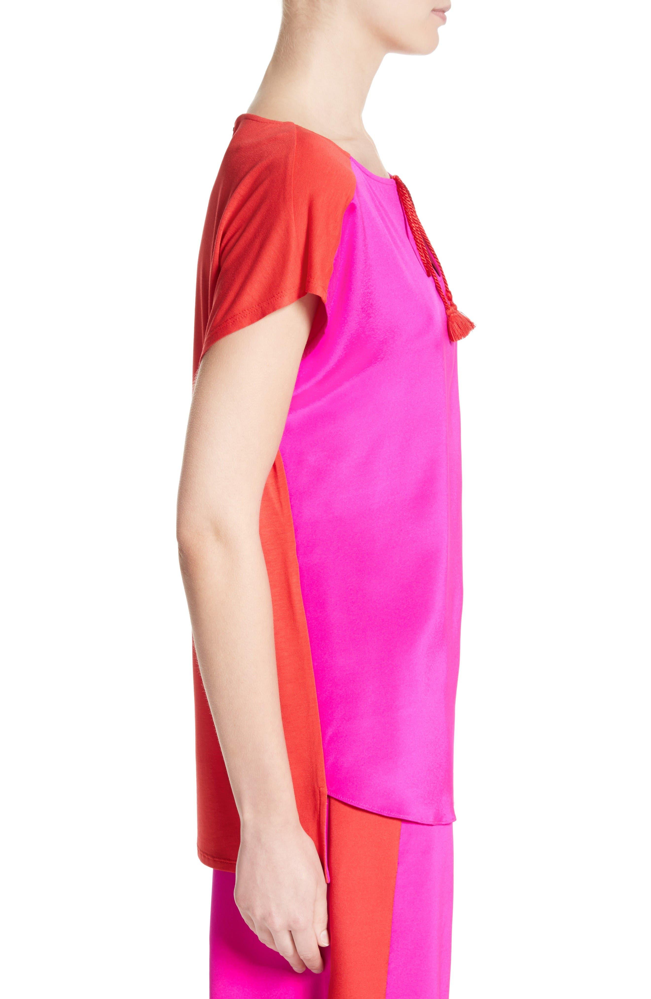 Alternate Image 3  - St. John Collection Stretch Silk & Jersey Tassel Blouse