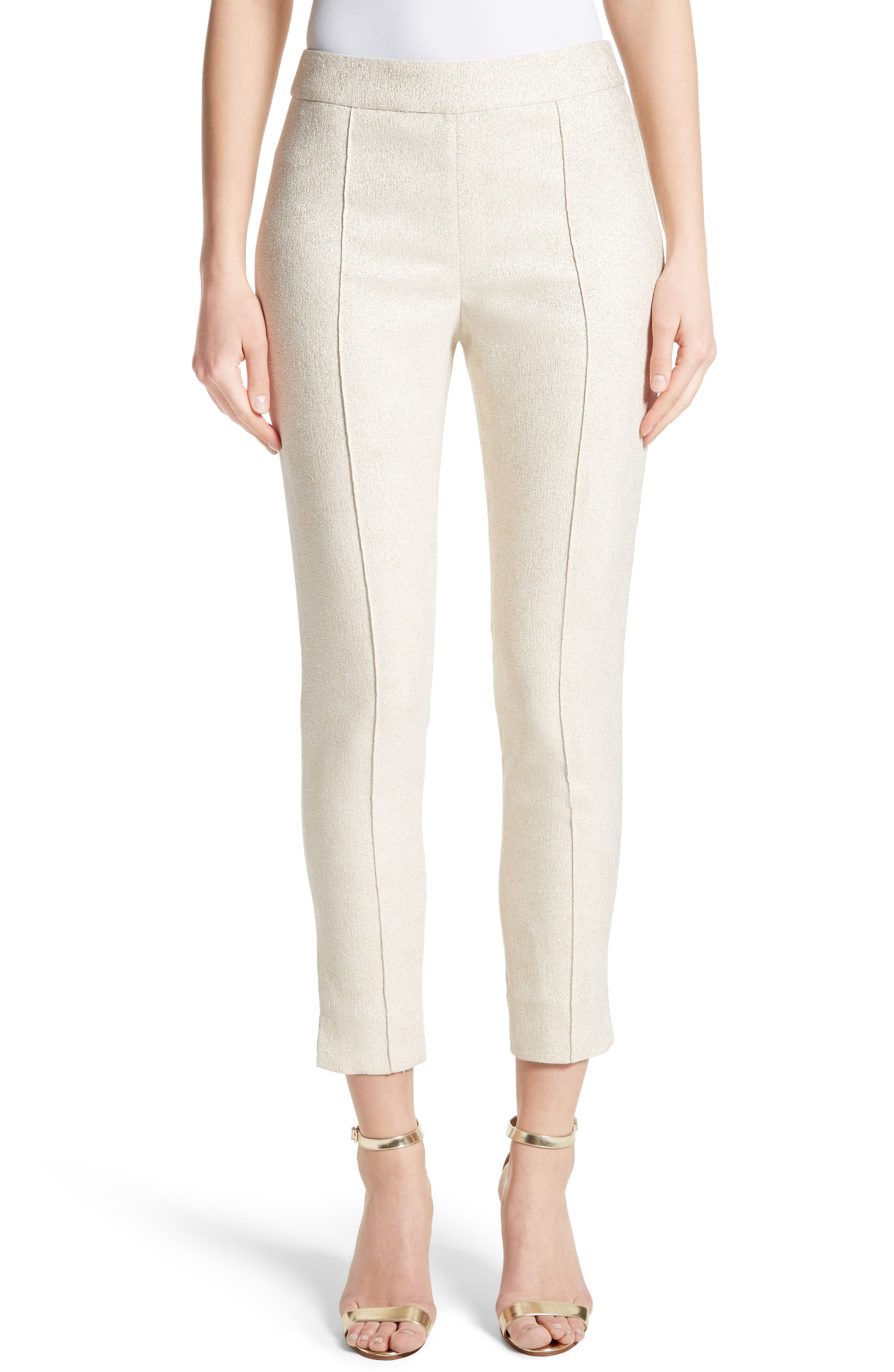 Metallic Jacquard Crop Pants,                             Alternate thumbnail 8, color,                             Bianco/ Gold