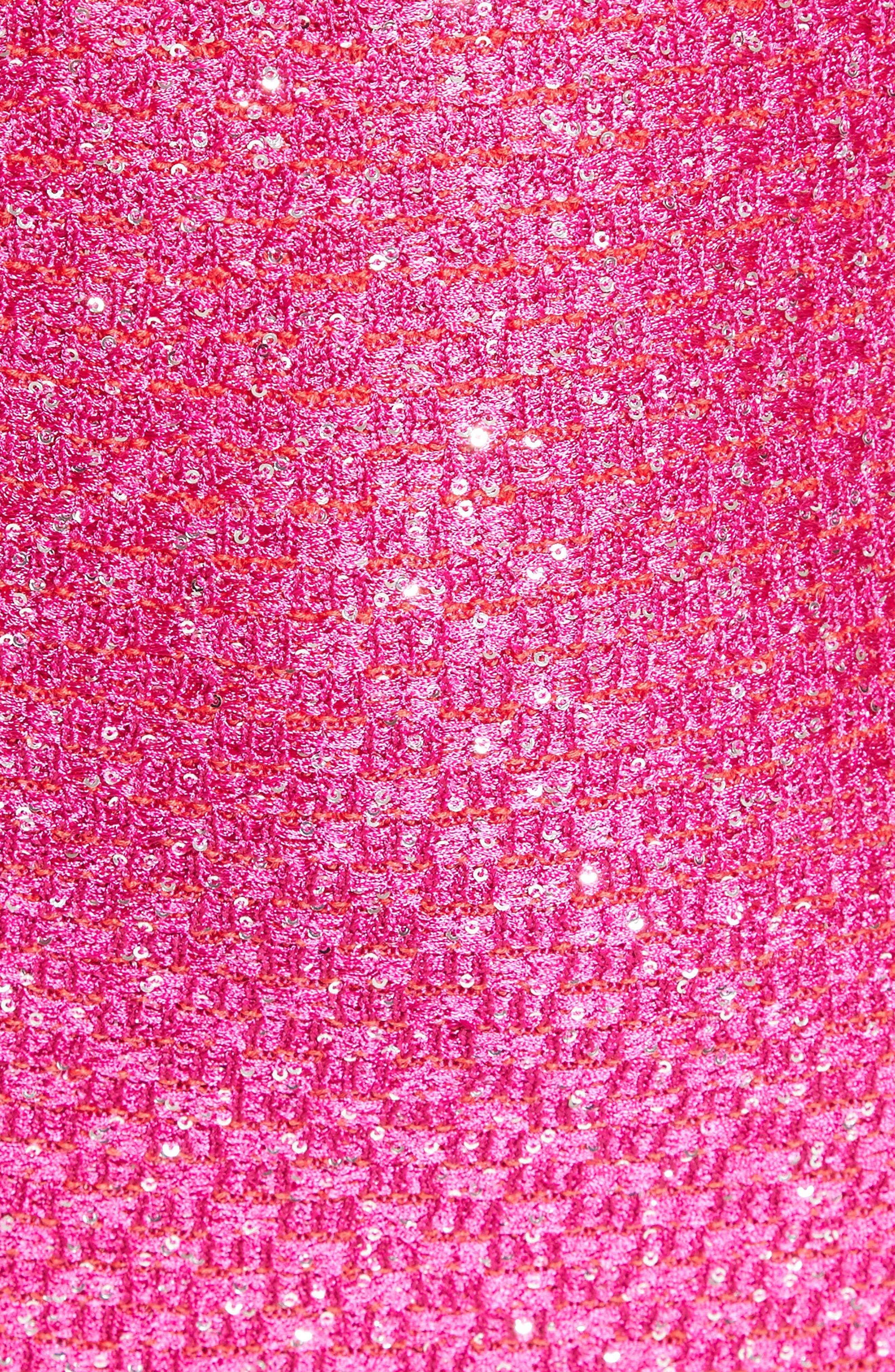 Sequin Knit Column Gown,                             Alternate thumbnail 3, color,                             Scarlet Multi