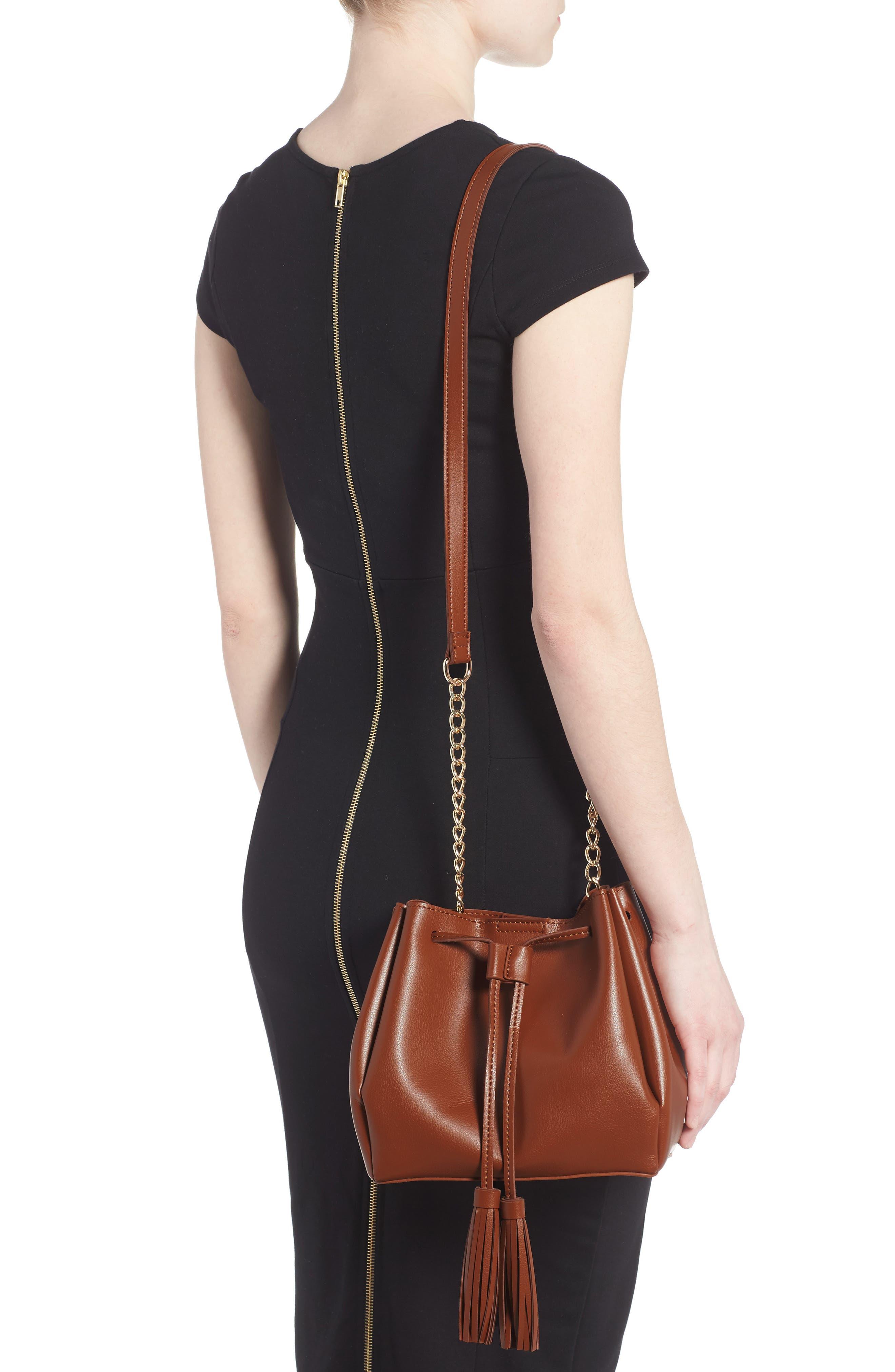 Dahlia Faux Leather Bucket Bag,                             Alternate thumbnail 2, color,                             Cognac