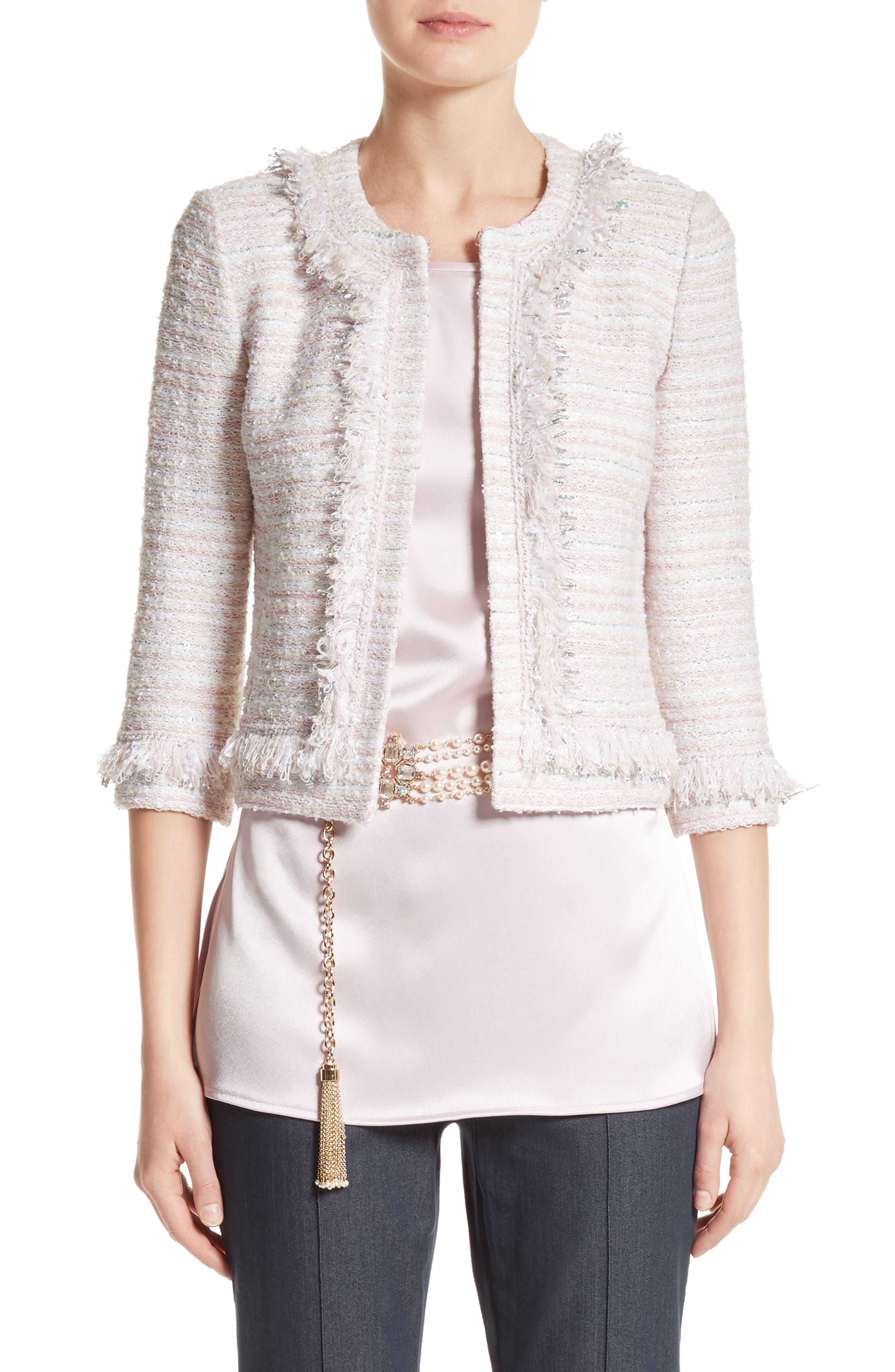 Alternate Image 1 Selected - St. John Collection Padmesh Tweed Knit Fringe Jacket