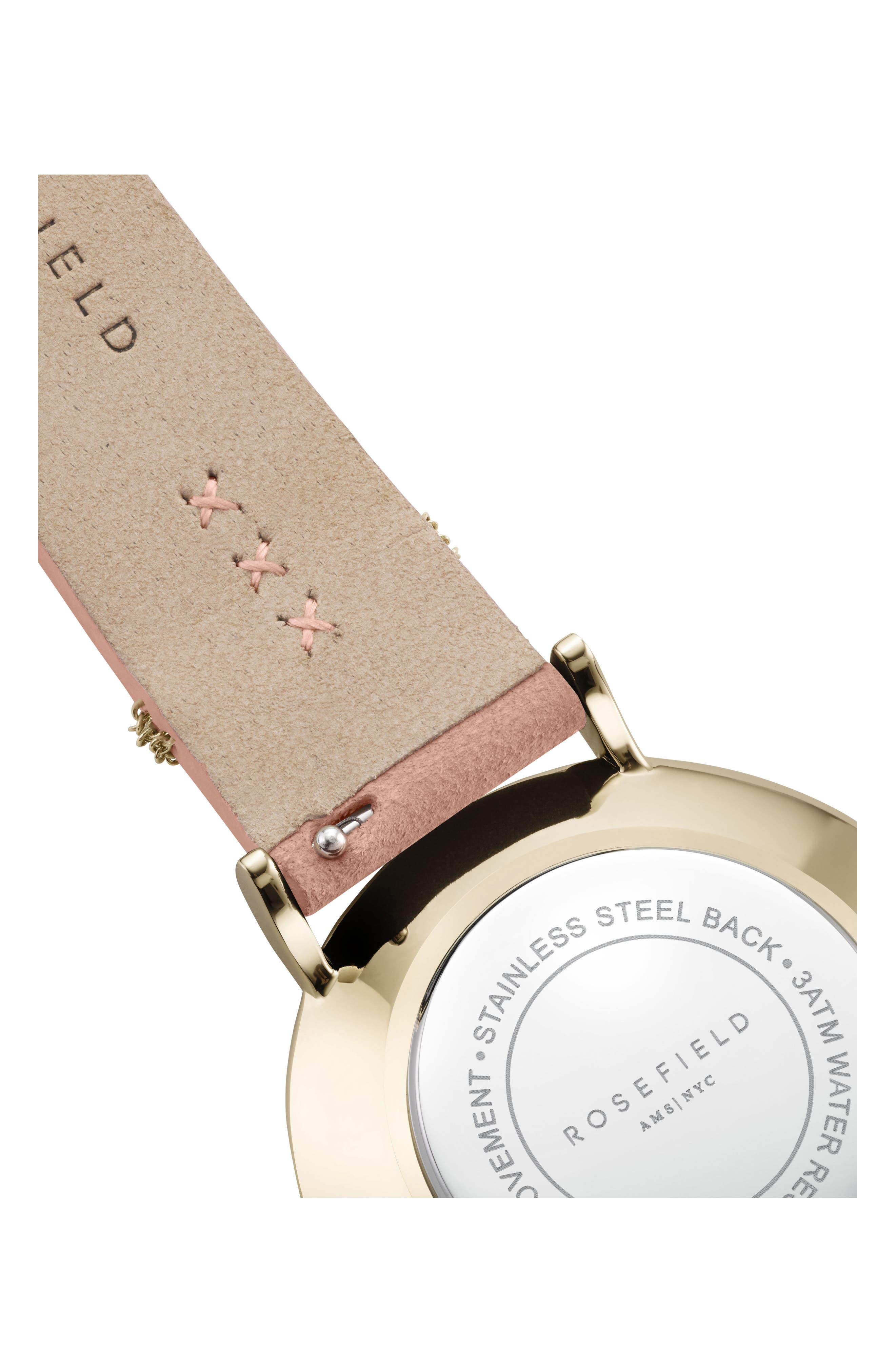 West Village Leather Strap Watch, 33mm,                             Alternate thumbnail 4, color,                             Pink/ White Pearl/ Gold