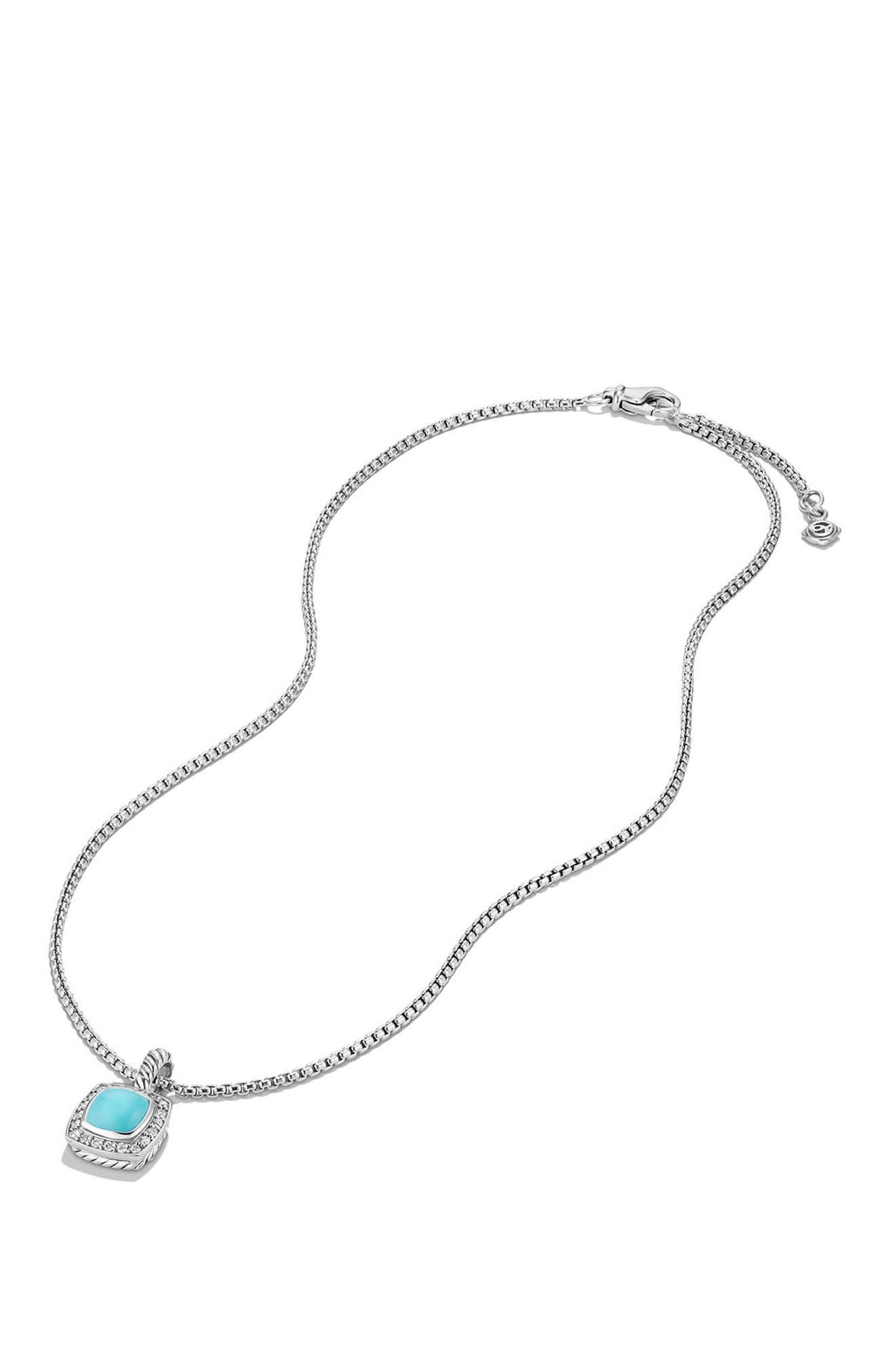 Petite Albion<sup>®</sup> Pendant Necklace with Diamonds,                             Alternate thumbnail 3, color,                             Silver/ Turquoise