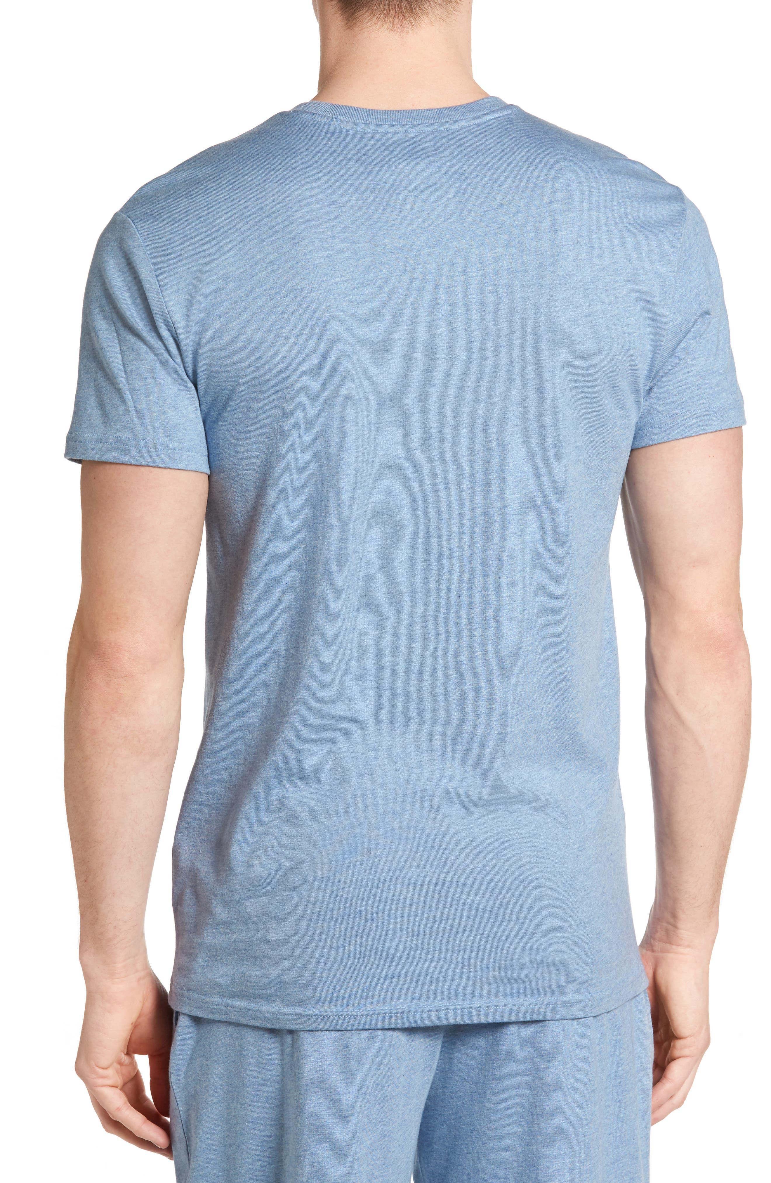 Crewneck Cotton & Modal T-Shirt,                             Alternate thumbnail 2, color,                             Blue Heather