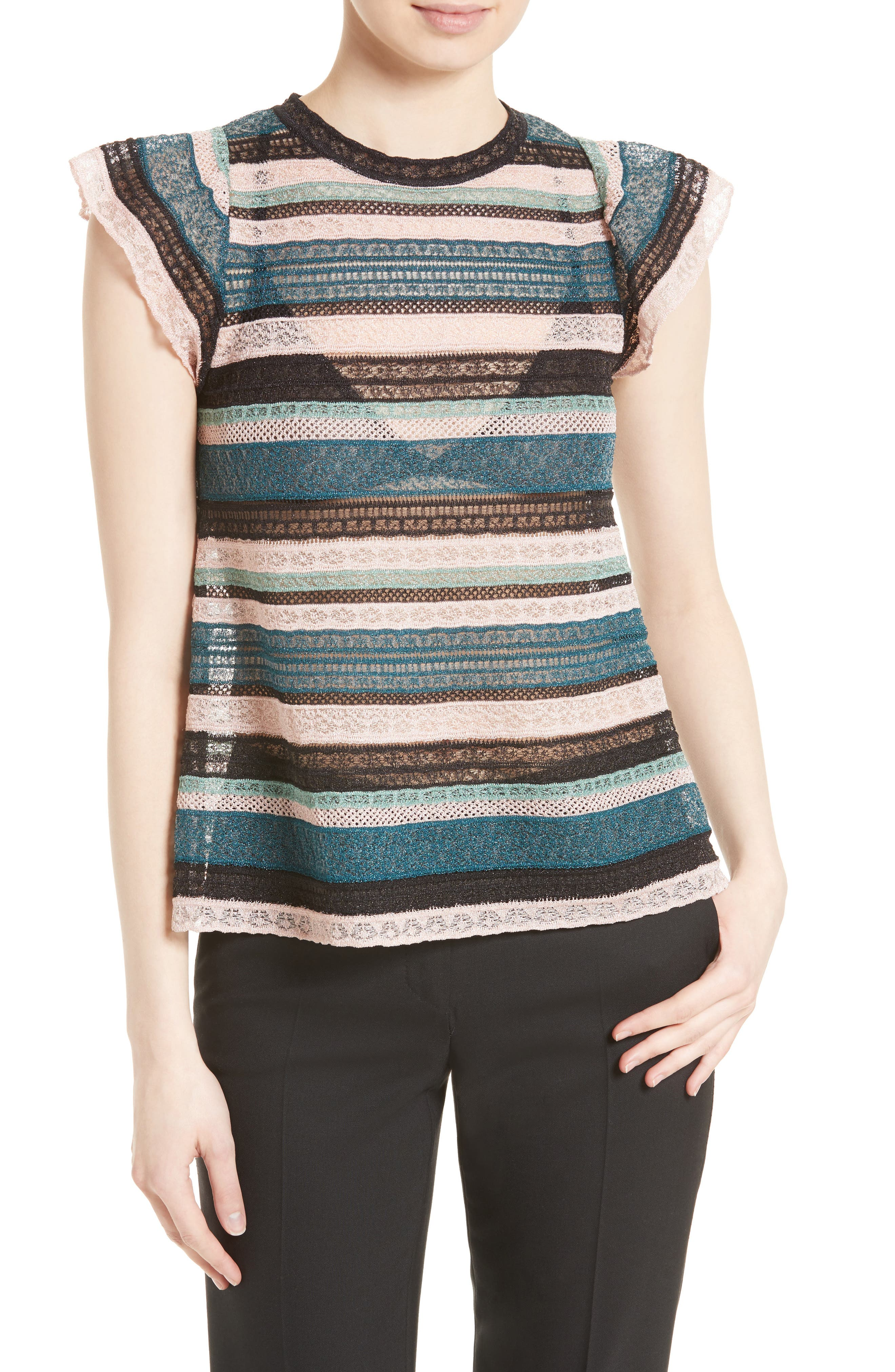 M Missoni Metallic Lace Ribbon Top