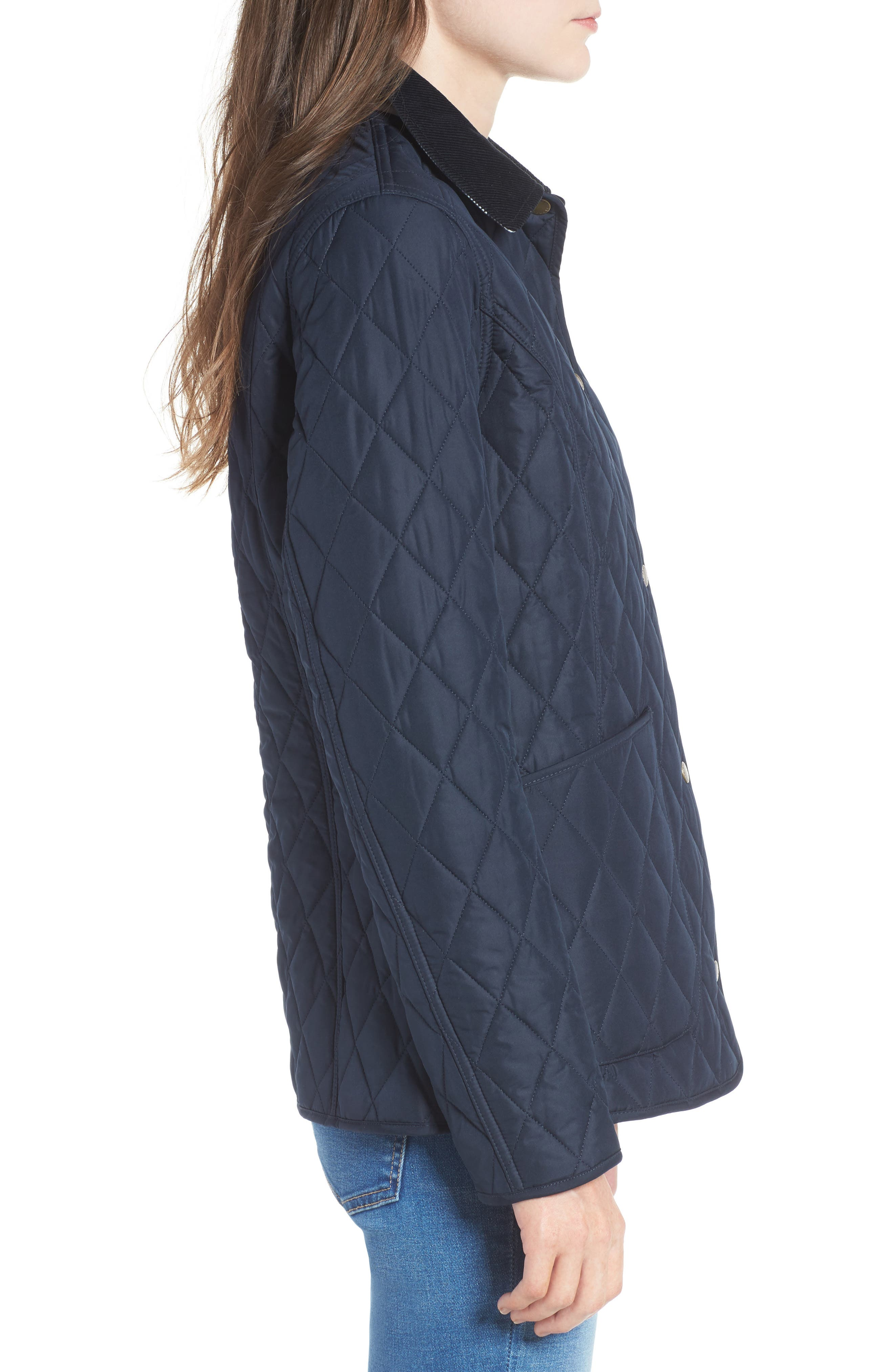 Spring Annandale Quilted Jacket,                             Alternate thumbnail 3, color,                             Navy/ Summer Tartan