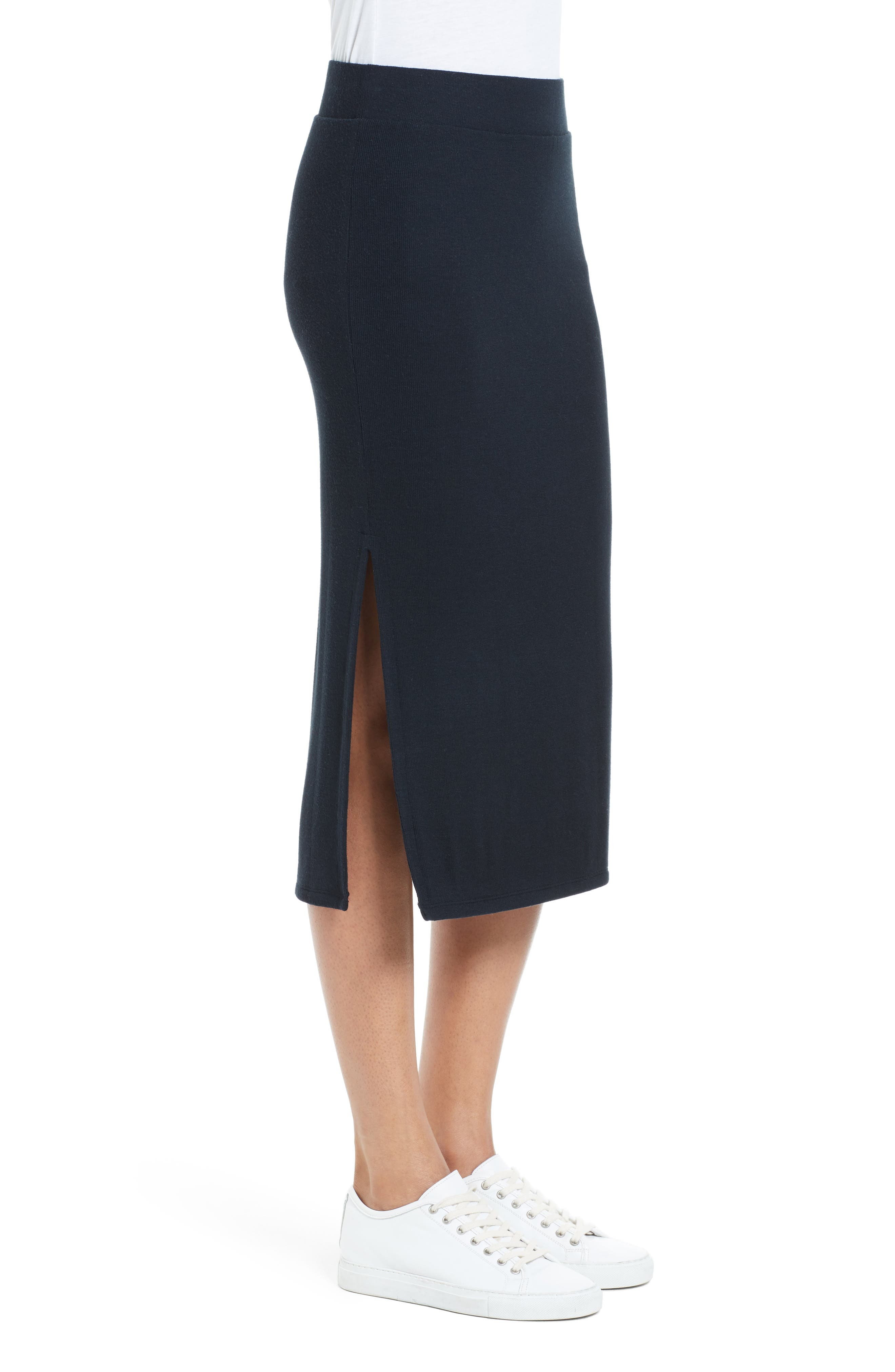 Side Slit Tube Skirt,                             Alternate thumbnail 4, color,                             Black