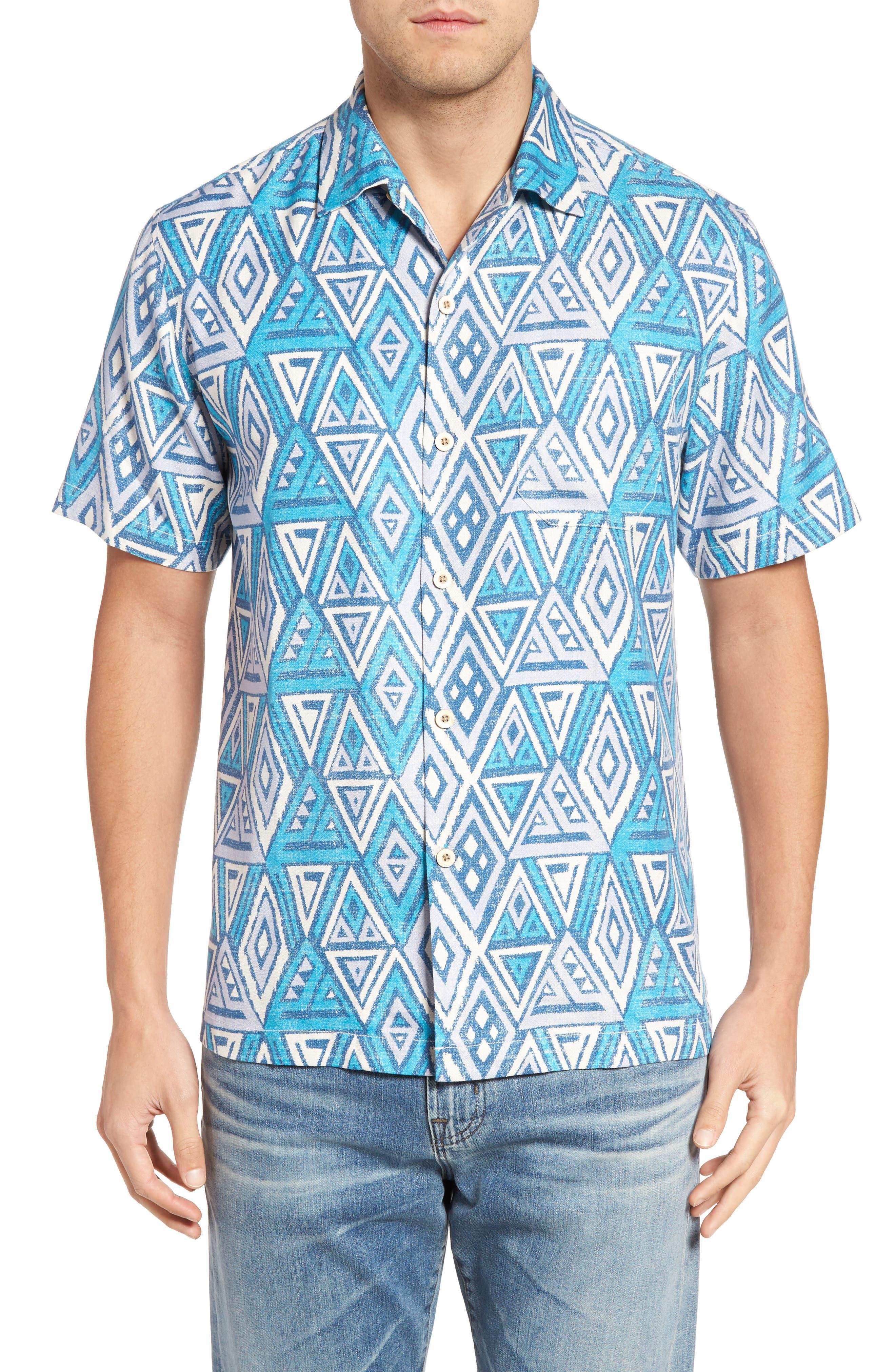 Trio Geo Silk Blend Camp Shirt,                         Main,                         color, Blue Danube