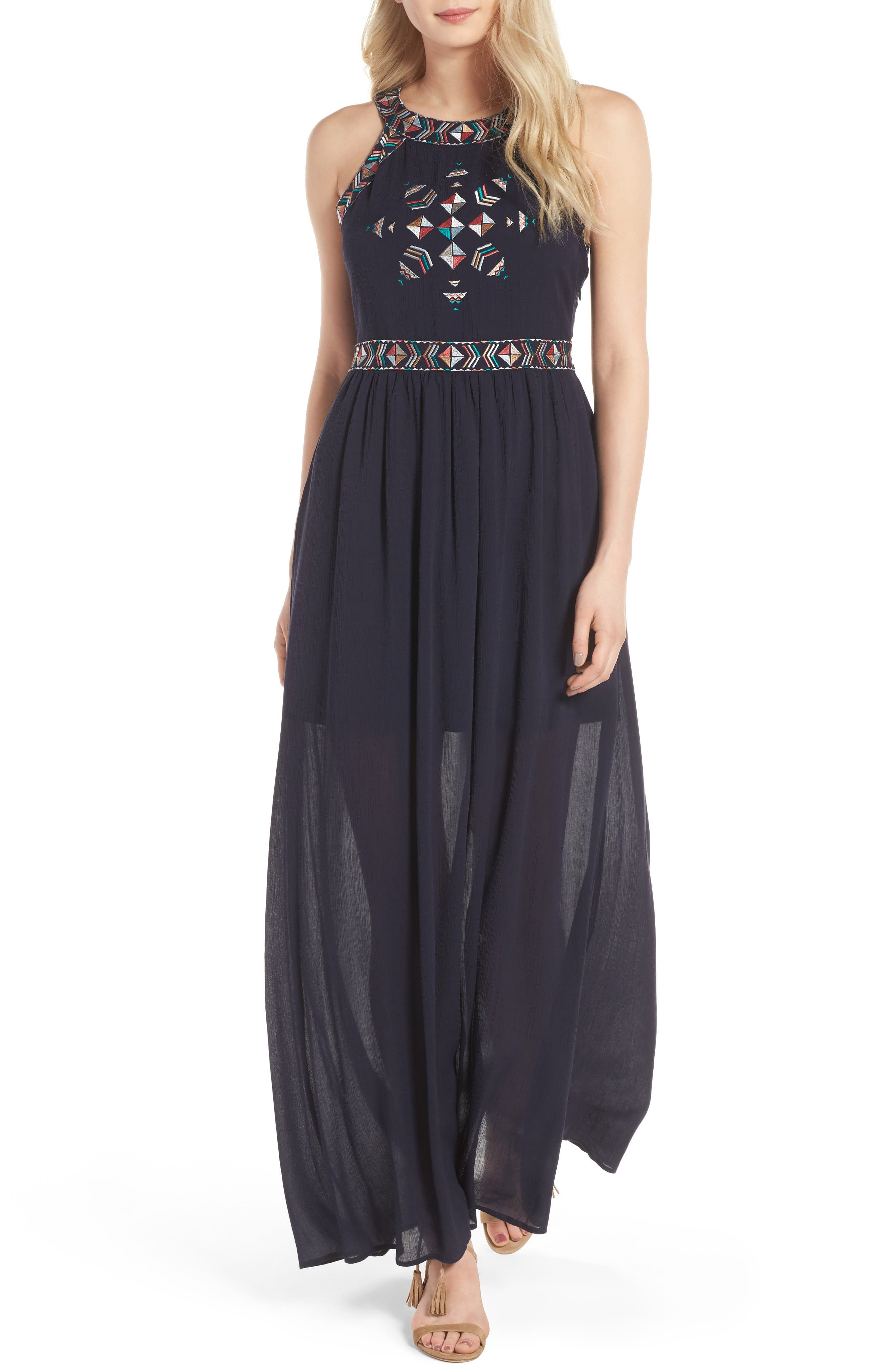 Kerrine Embroidered Maxi Dress,                         Main,                         color, Ink
