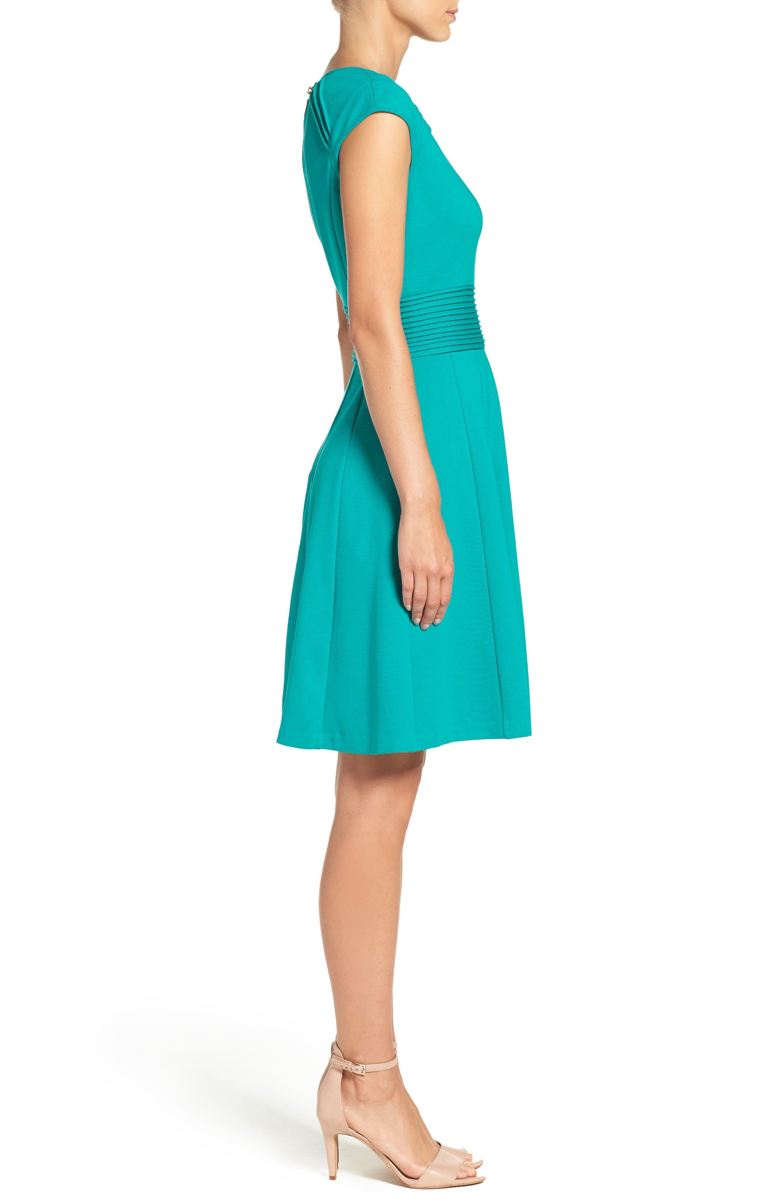 Ponte Fit & Flare Dress,                             Alternate thumbnail 3, color,                             Teal