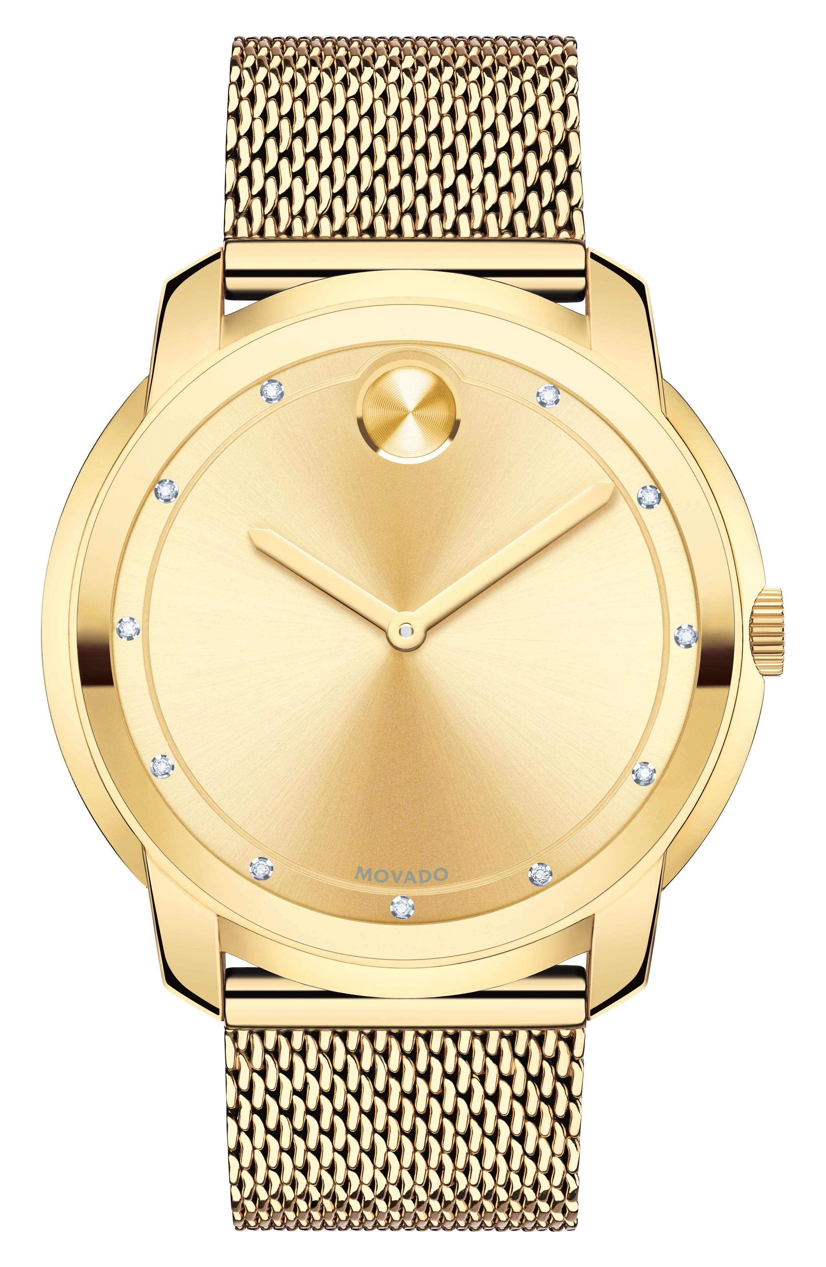 Diamond Museum Dial Mesh Strap Watch, 44mm,                         Main,                         color, Gold