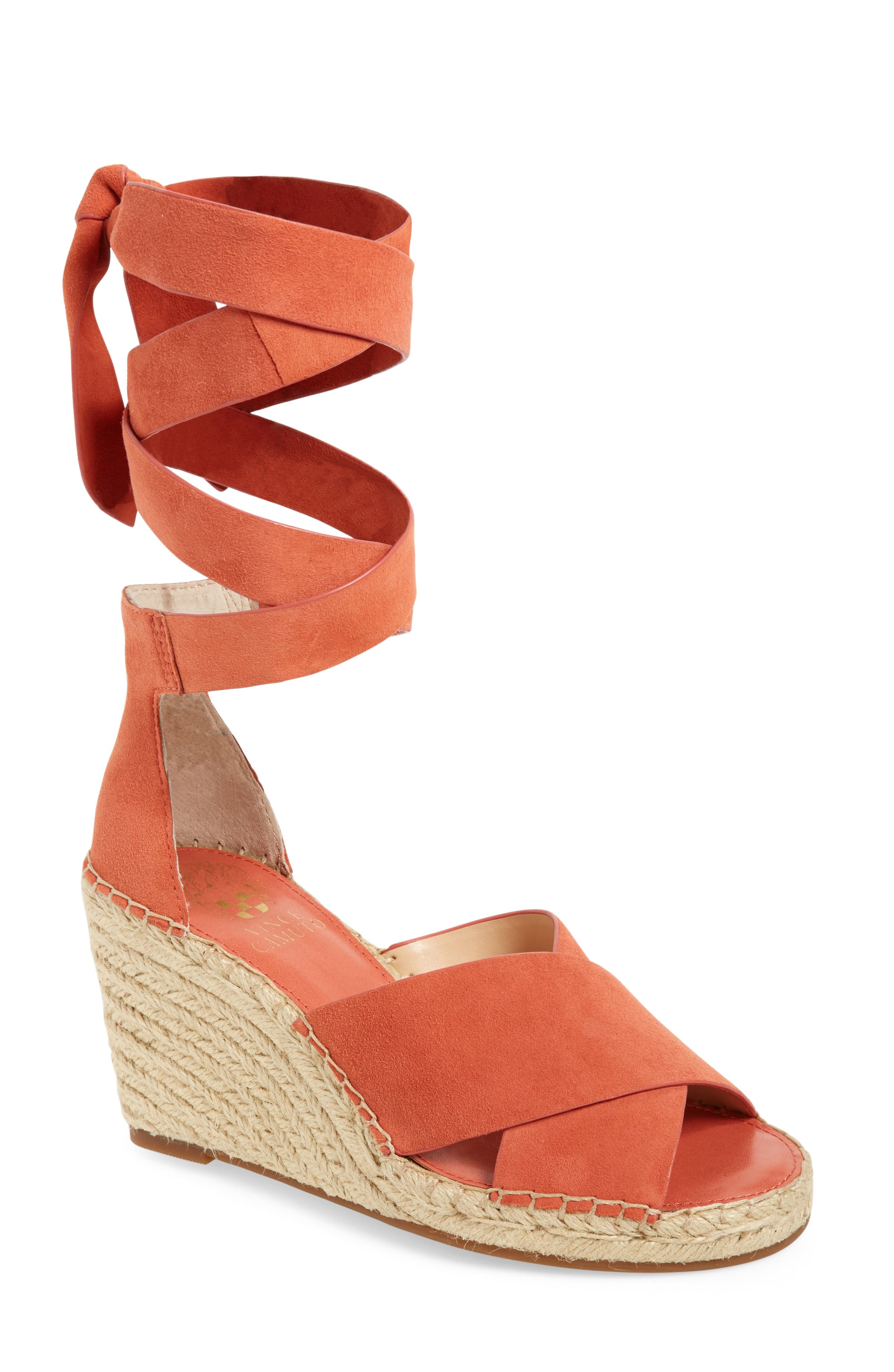 Leddy Wedge Sandal,                             Main thumbnail 1, color,                             Melon Daiquiri Suede