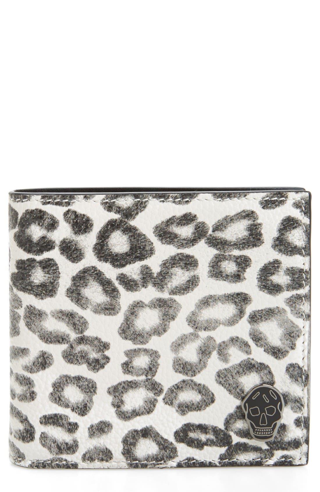 Alexander McQueen Leopard Print Leather Wallet