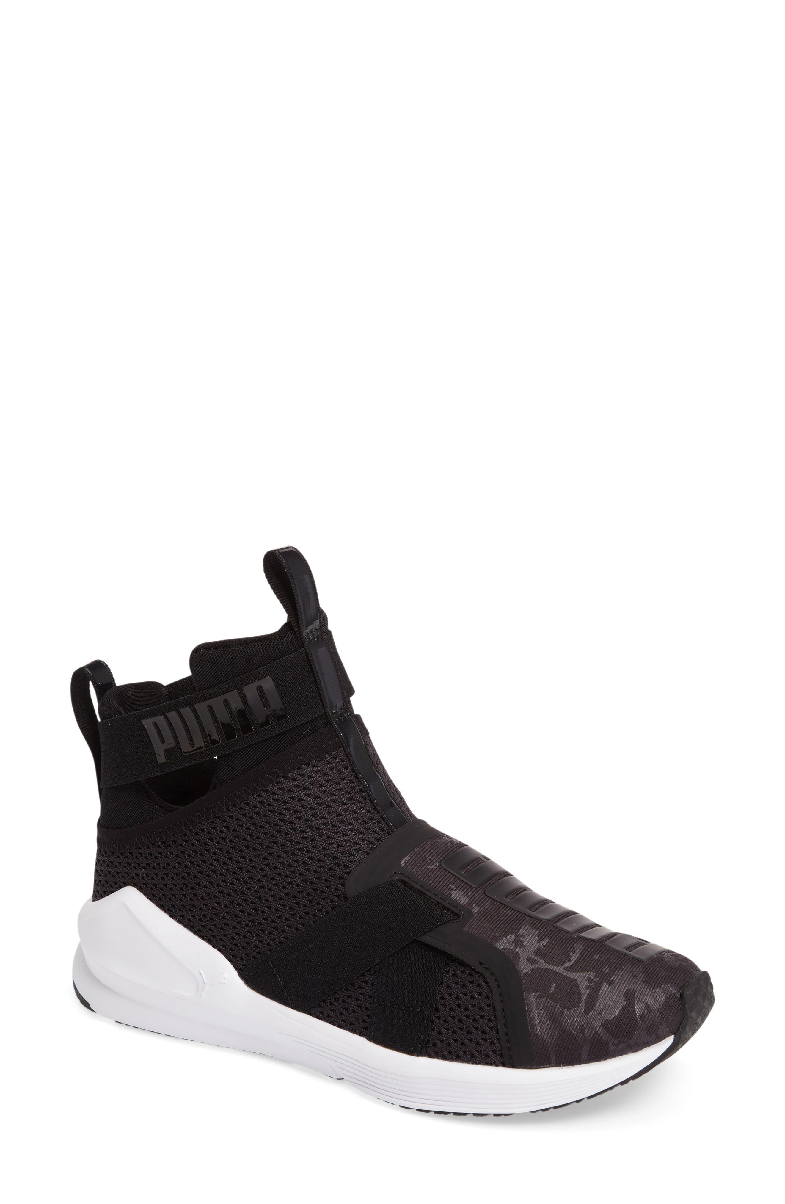 Fierce Strap Training Sneaker,                             Main thumbnail 1, color,                             Black/ White
