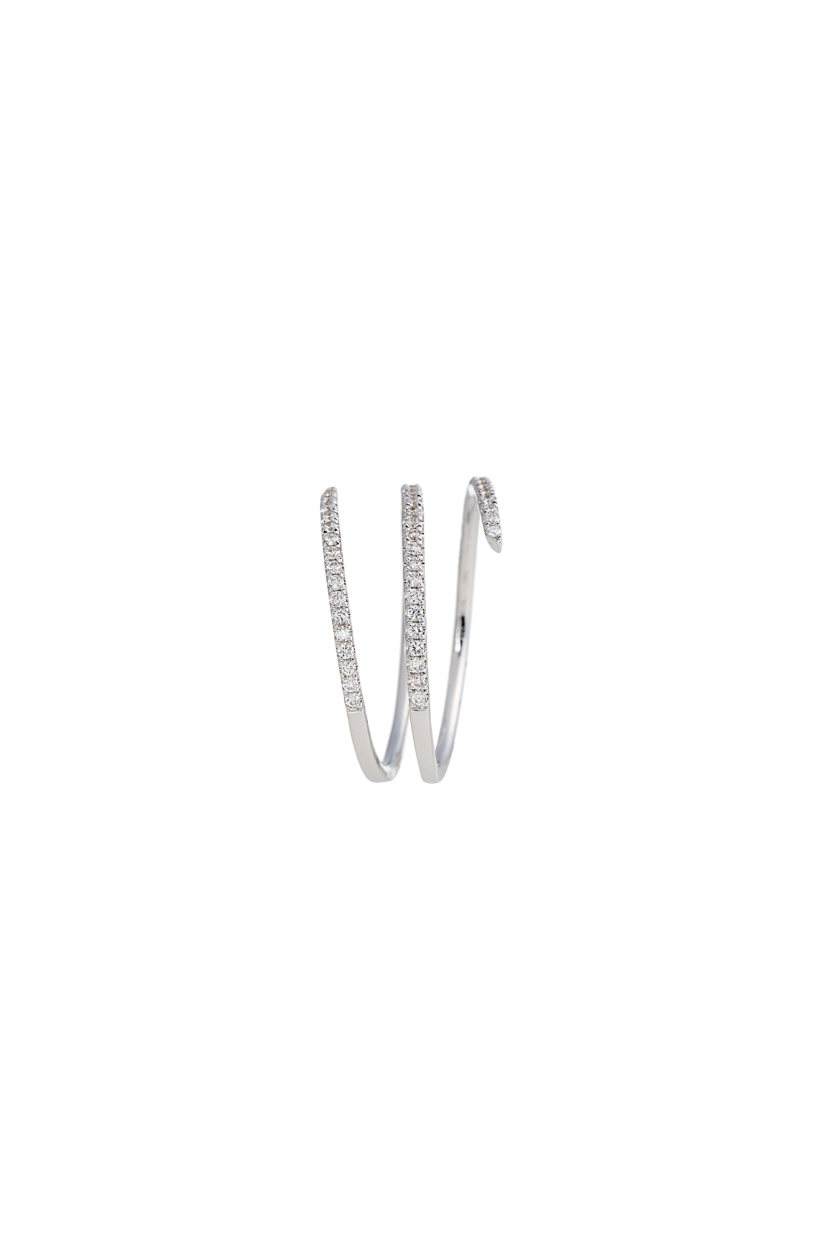 Diamond Coil Ring,                             Alternate thumbnail 2, color,                             White Gold
