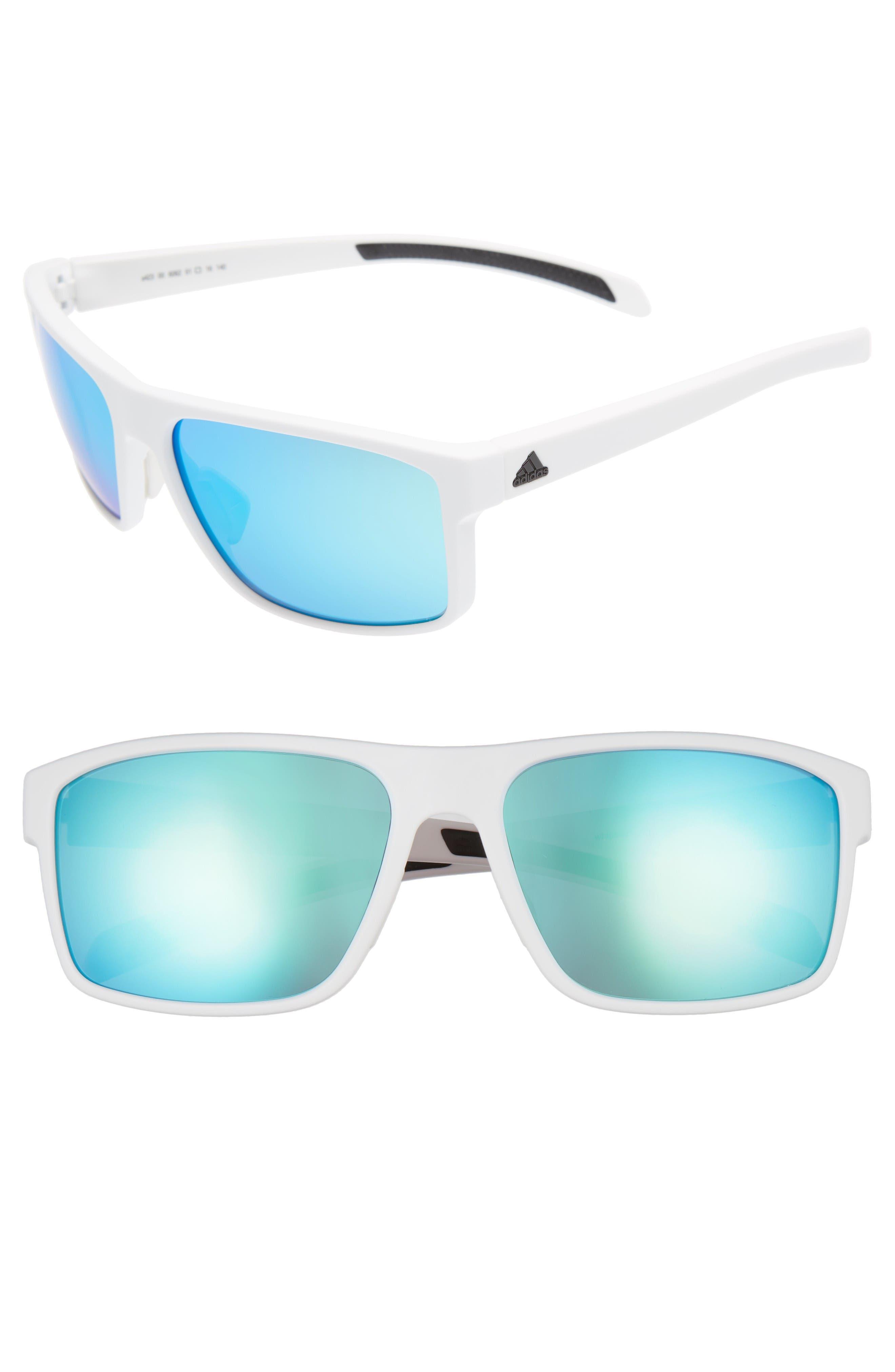 Whipstart 61mm Sunglasses,                             Main thumbnail 1, color,                             White/ Blue Mirror