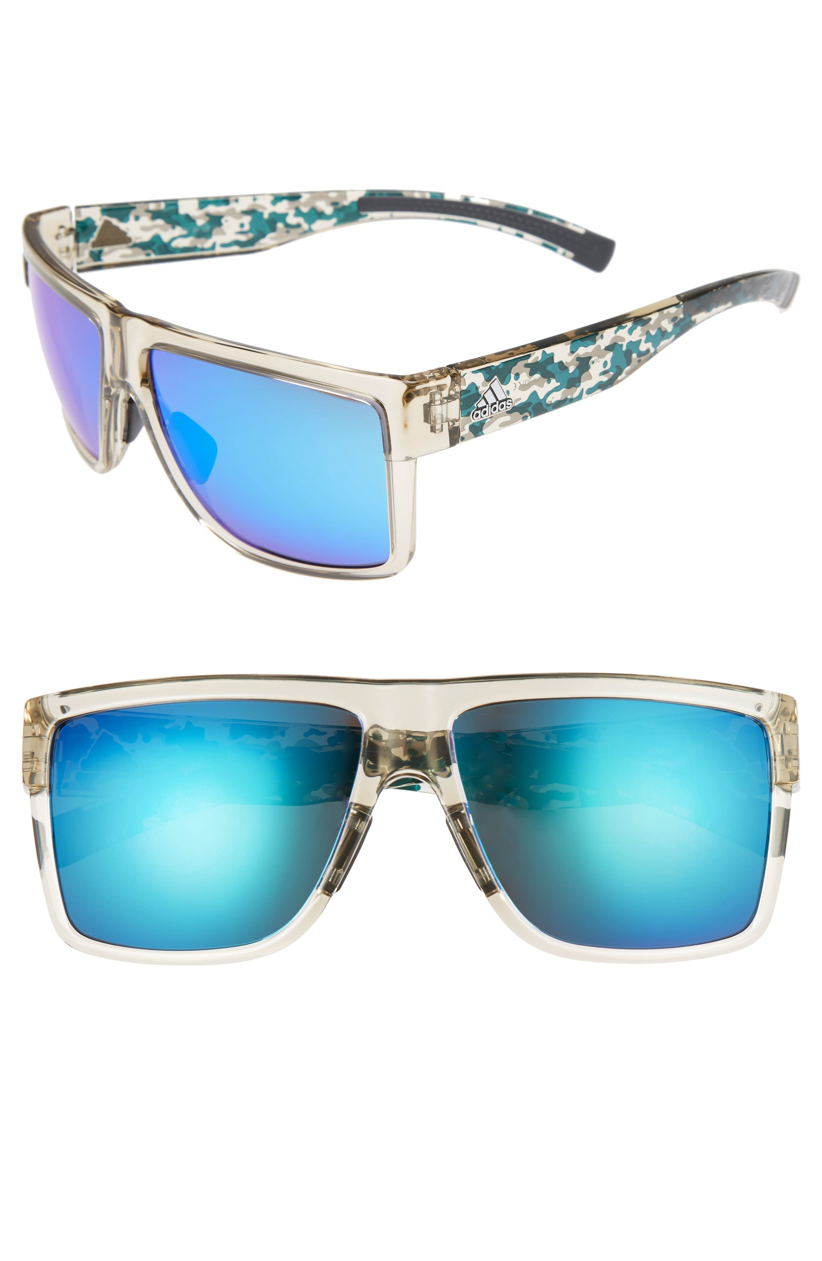 3Matic 60mm Sunglasses,                         Main,                         color, Clear Brown Camo/ Blue Mirror