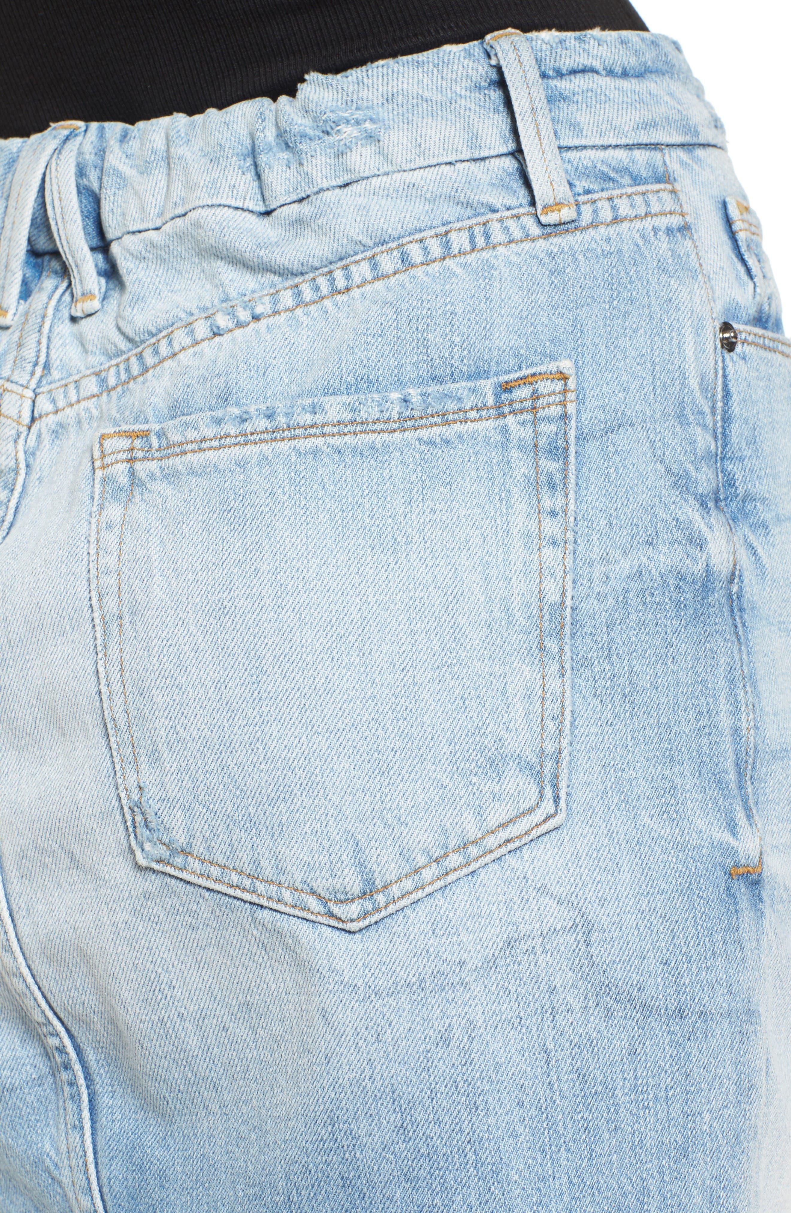 The Mini High Waist Denim Miniskirt,                             Alternate thumbnail 4, color,                             Blue033