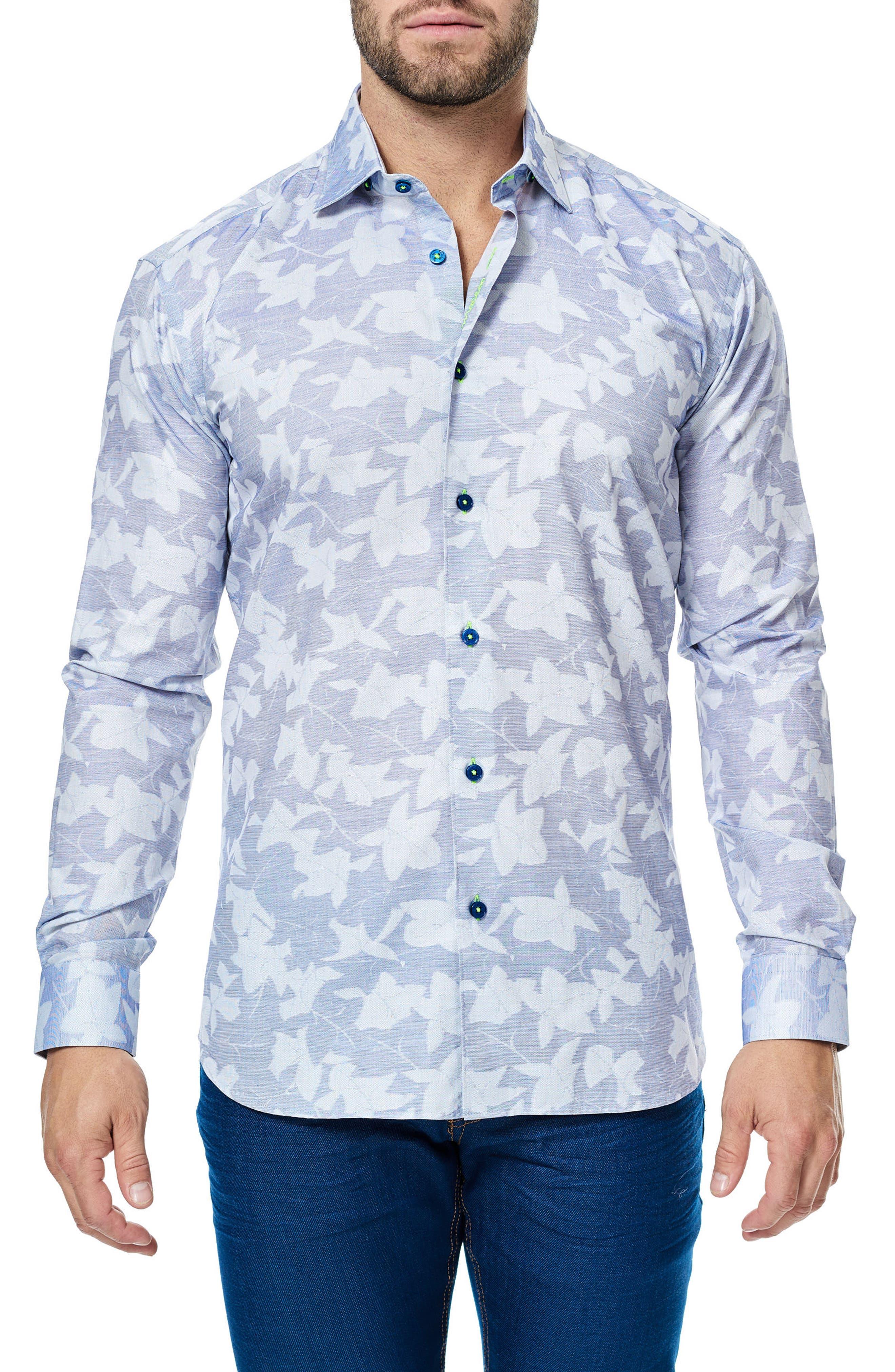 Luxor Leaves Trim Fit Sport Shirt,                         Main,                         color, Light Blue