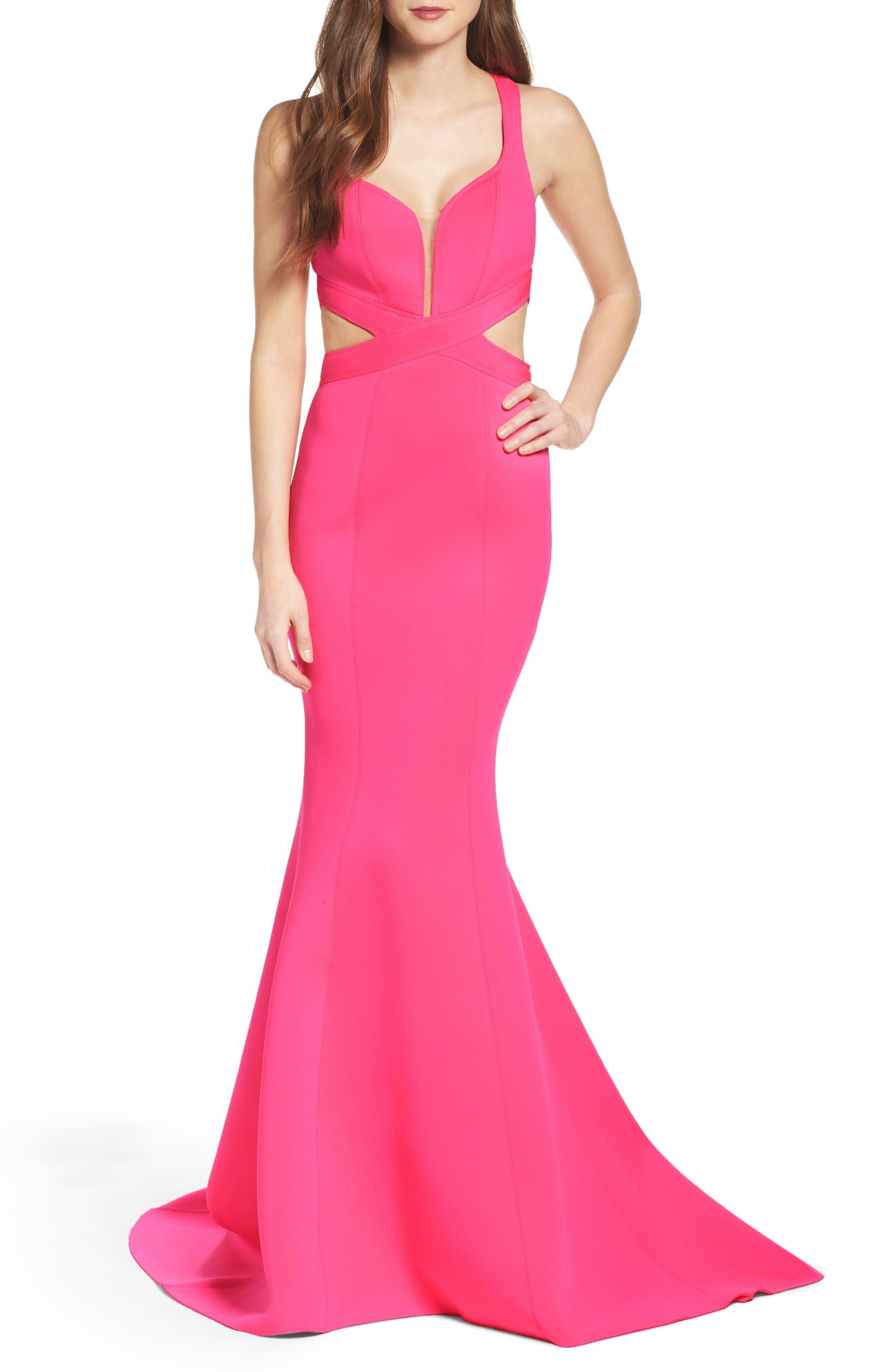 Alternate Image 1 Selected - La Femme Neoprene Mermaid Gown