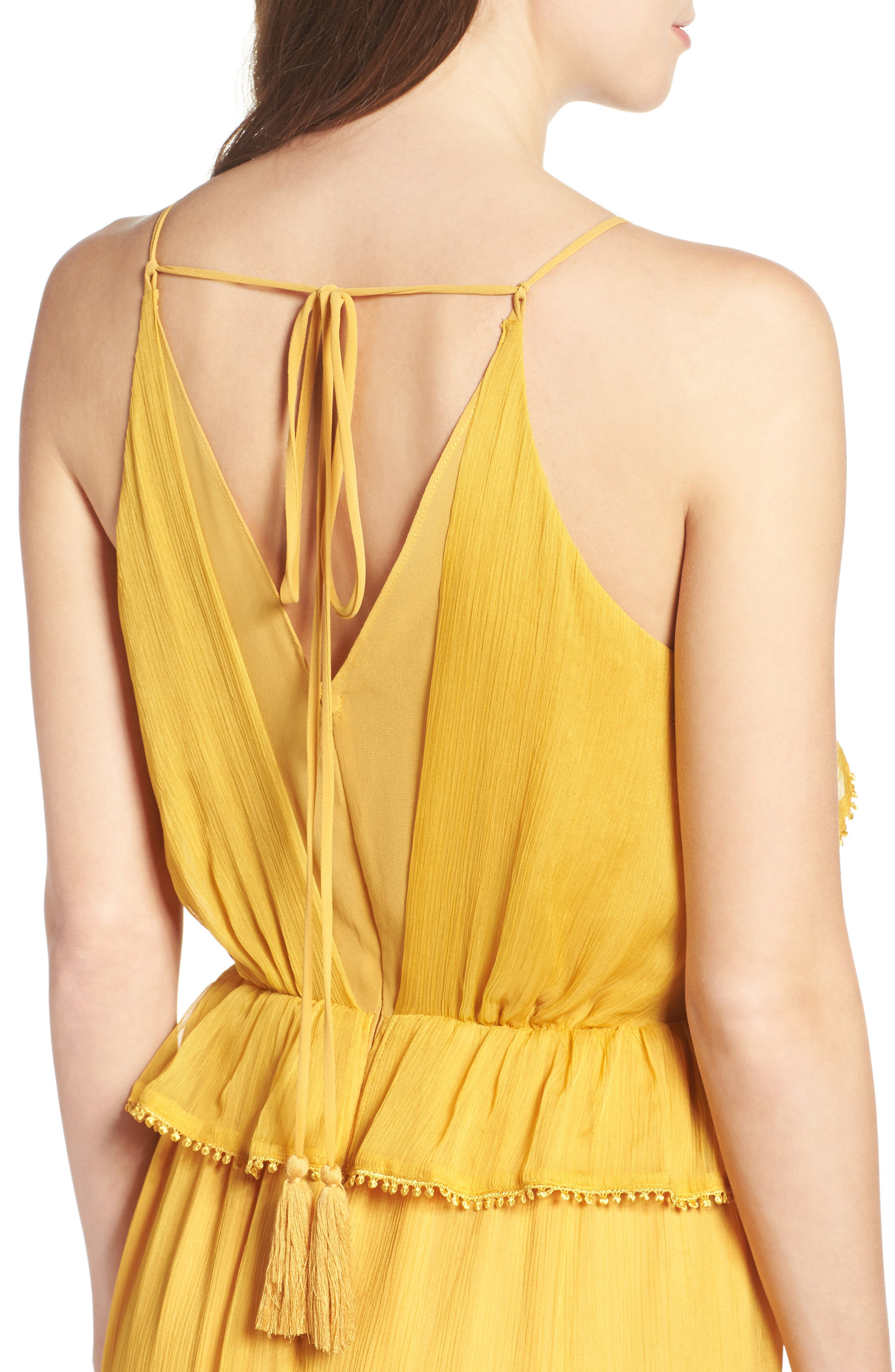 Tiered Chiffon Maxi Dress,                             Alternate thumbnail 4, color,                             Golden Yellow