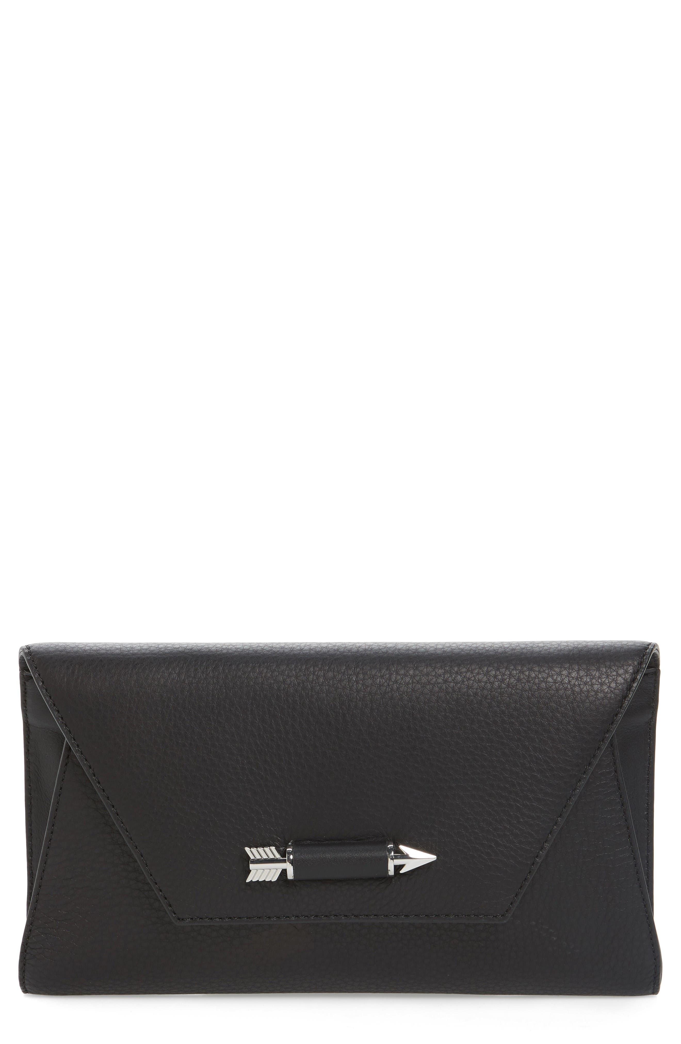 Flex Leather Envelope Clutch,                             Main thumbnail 1, color,                             Black