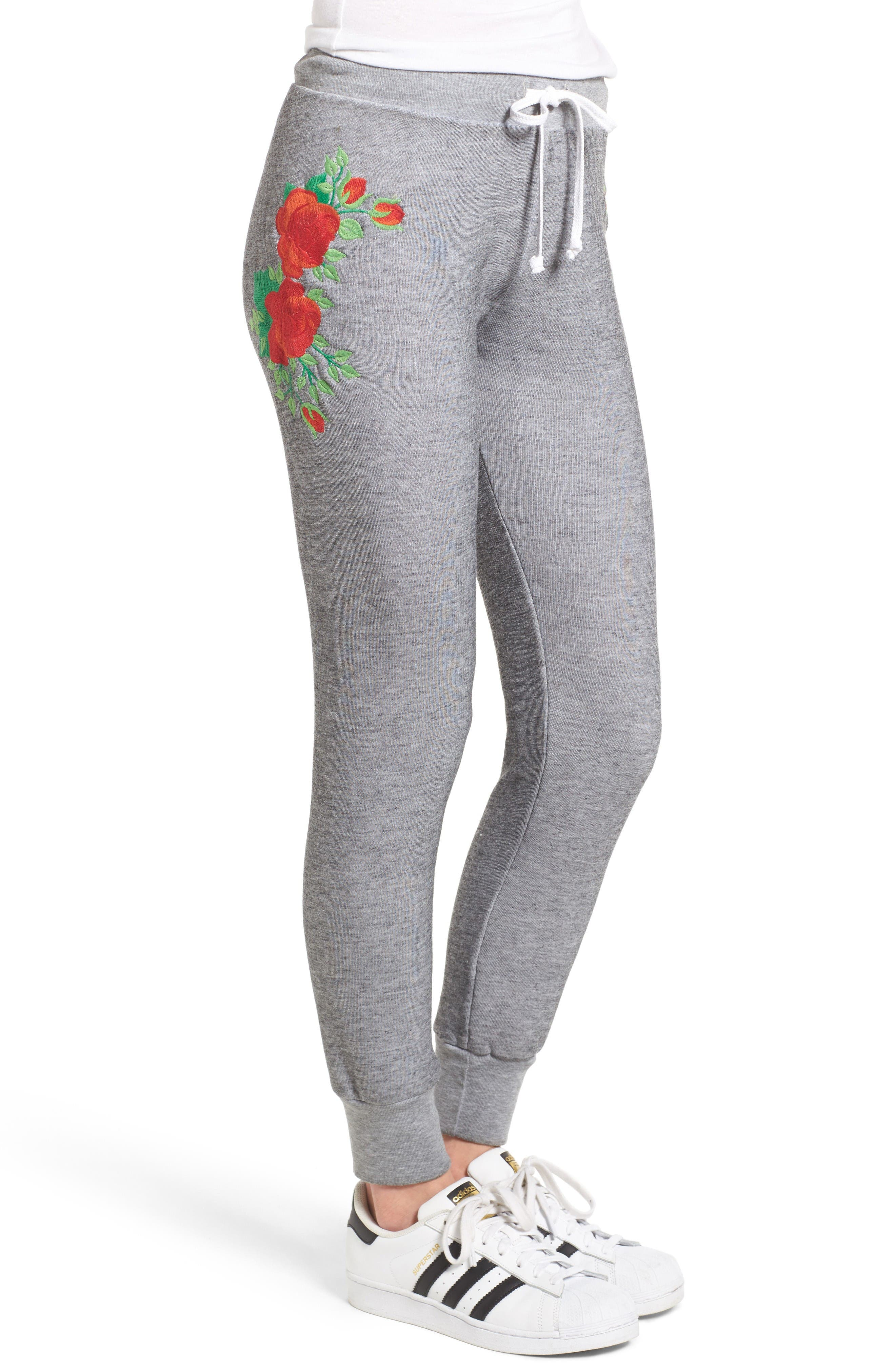 Alternate Image 3  - Wildfox Jack - Red Roses Embroidered Jogger Pants
