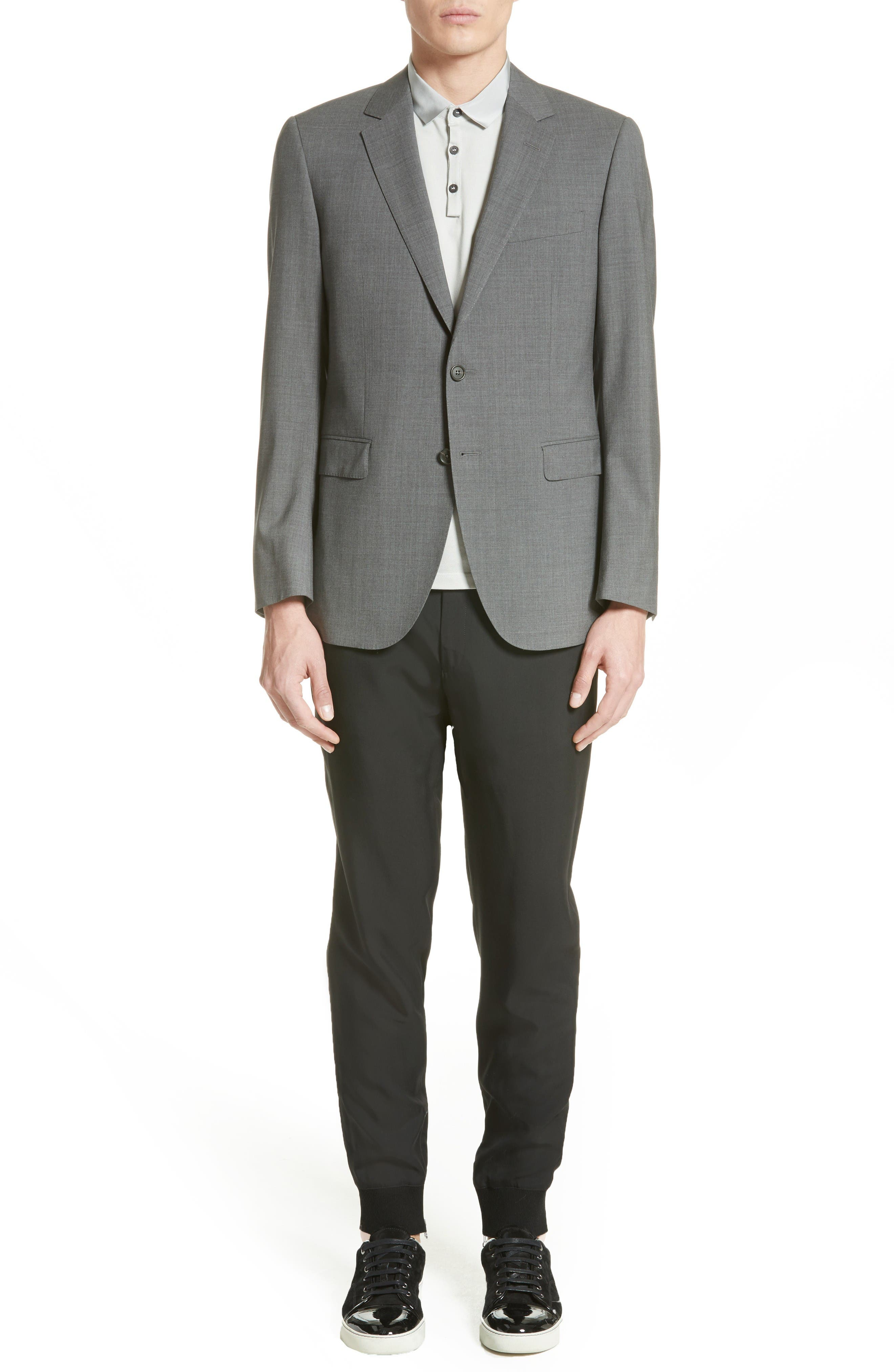 Tropical Wool Suit Jacket,                             Alternate thumbnail 6, color,                             Grey
